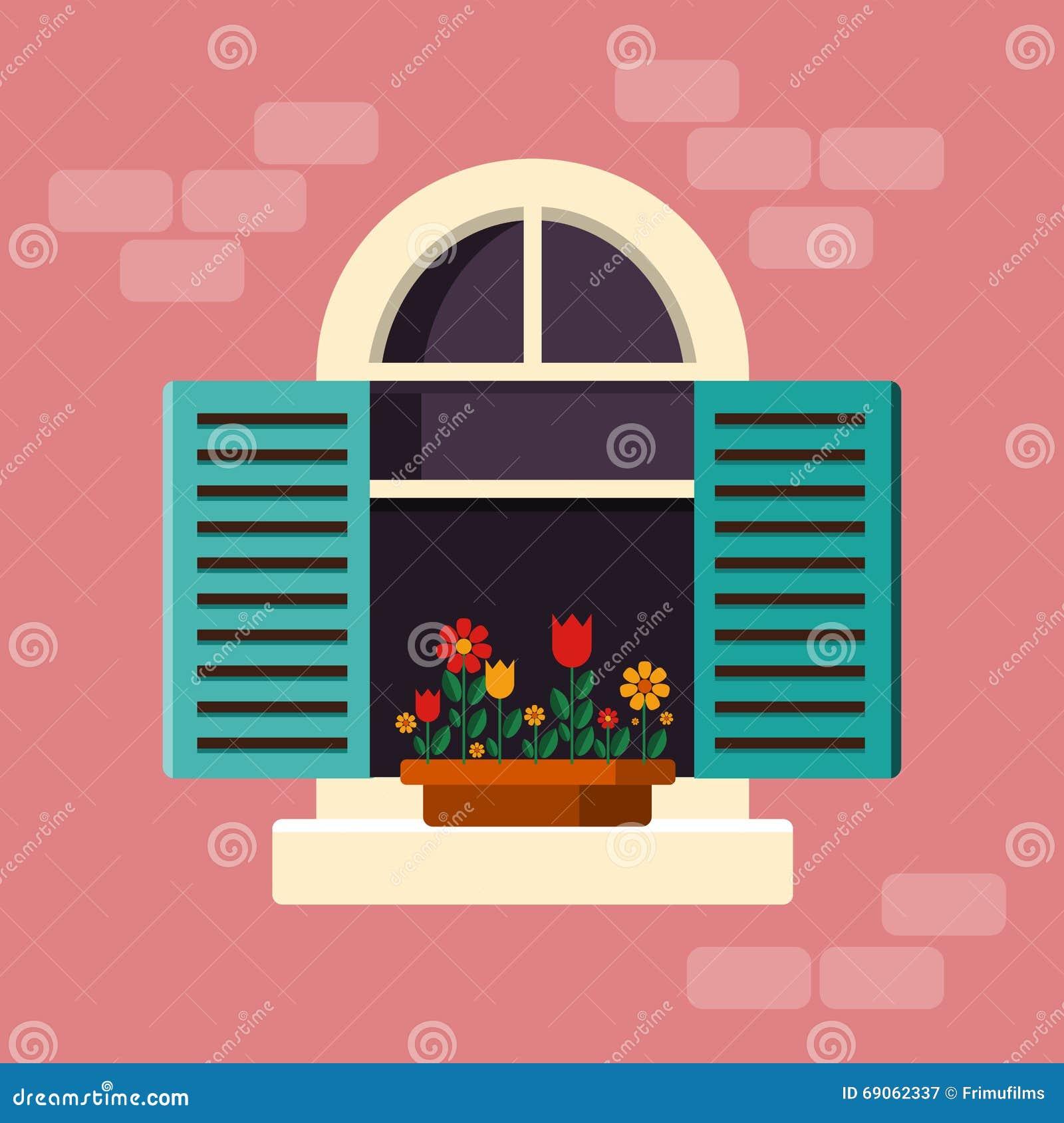 Äußeres Haus-Fenster Mit Fensterläden Vektor Abbildung ...