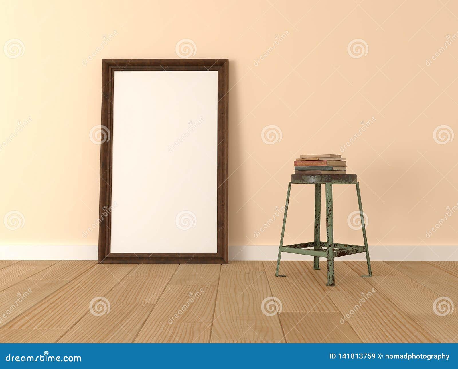 假装海报,木制框架在屋子里