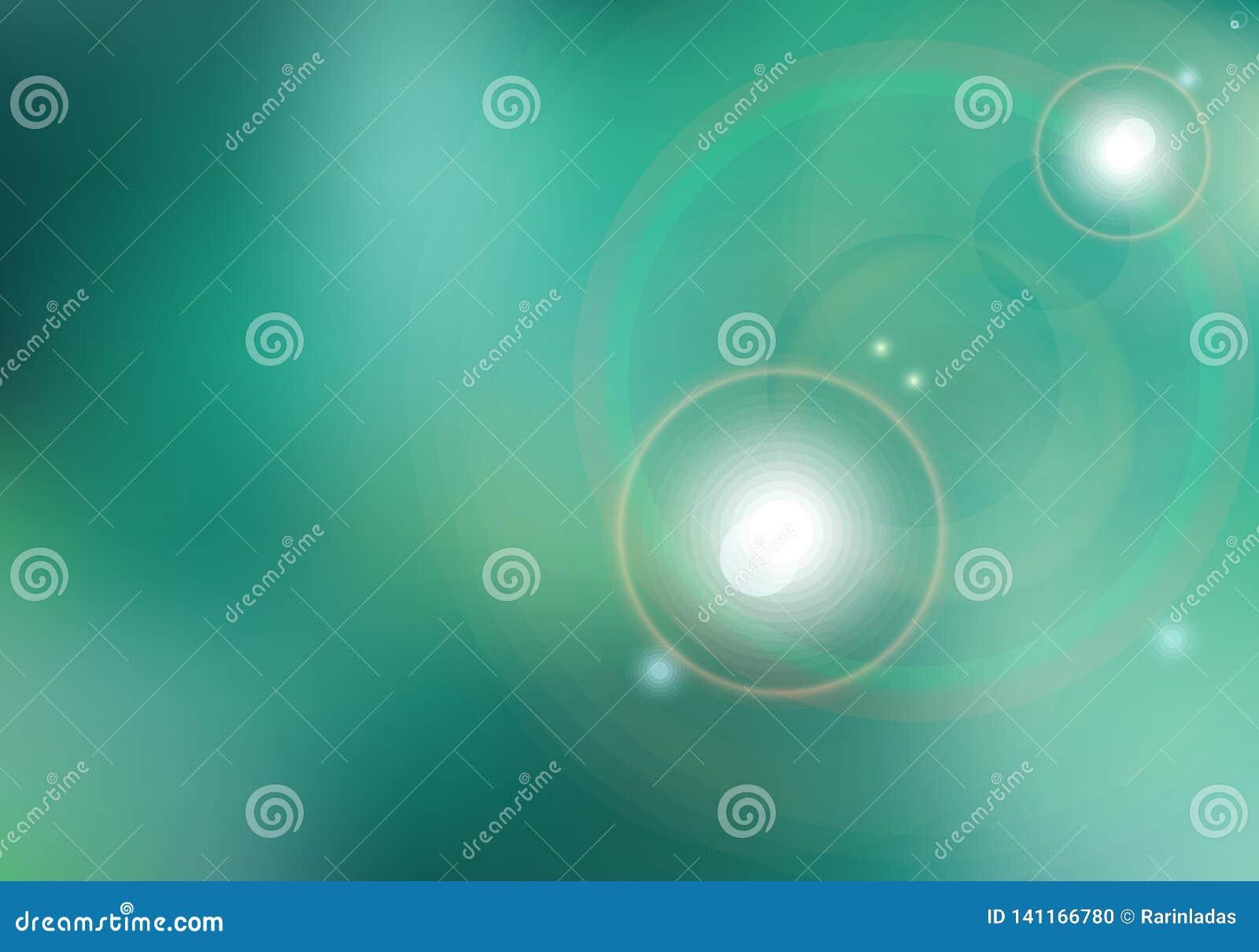 发光与火光的抽象日落或日出和太阳被弄脏的绿色背景