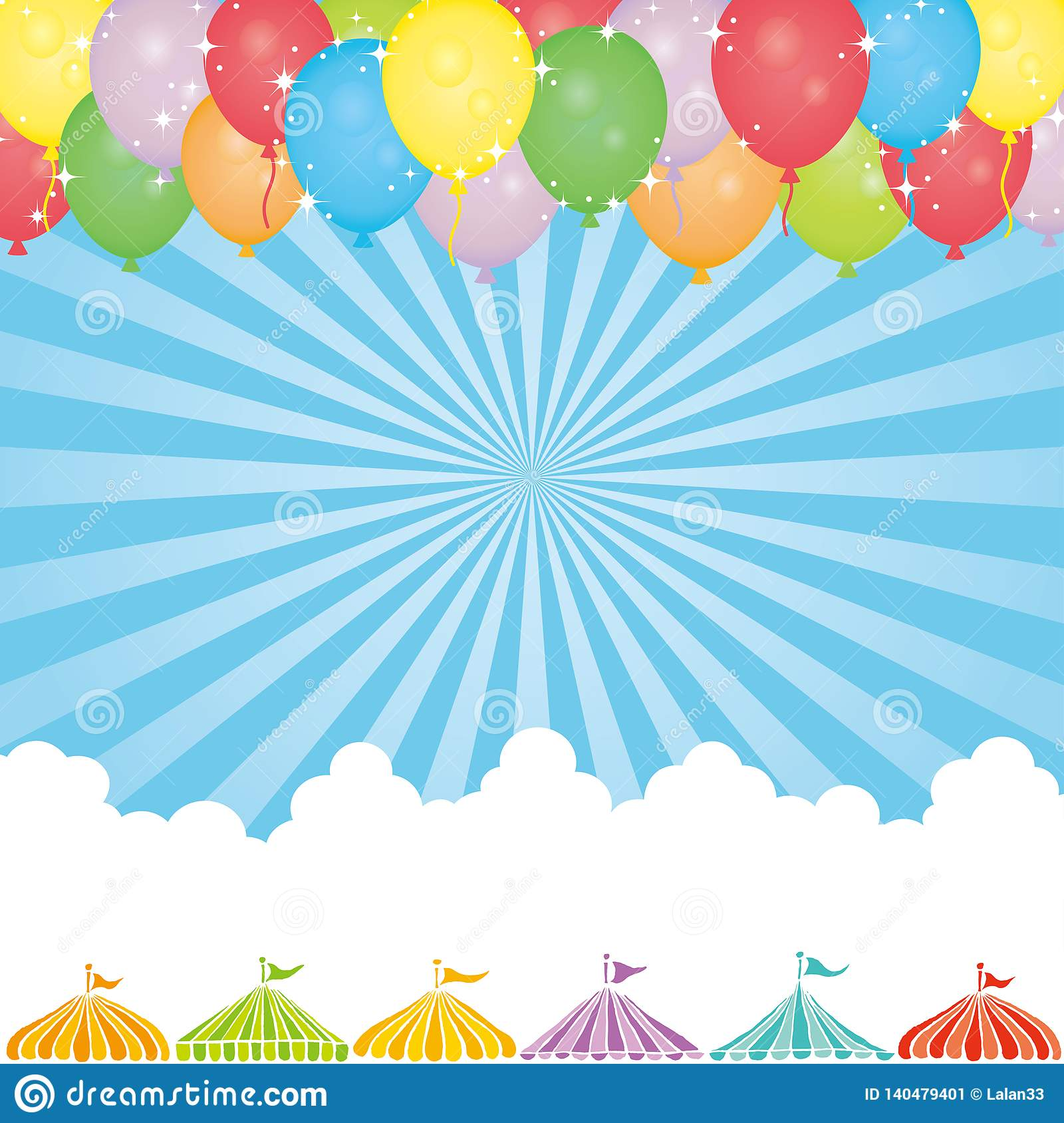 Sky background with balloon and event tents.