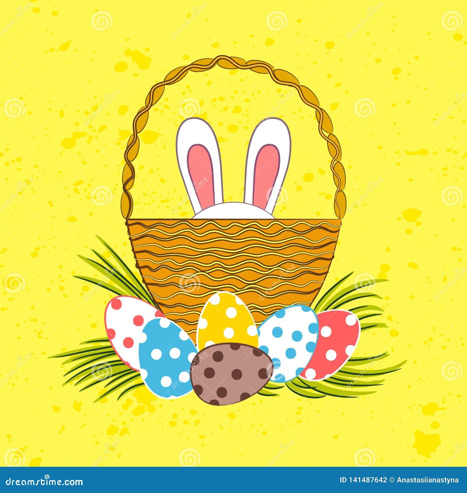 复活节兔子在篮子掩藏