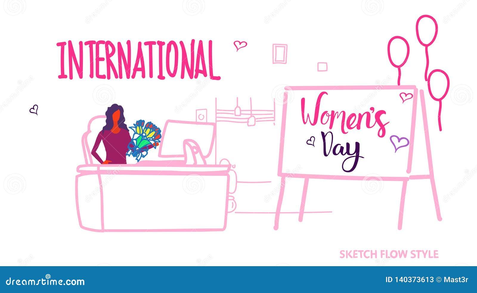 女商人坐的工作场所与花国际愉快的妇女的8行军庆祝概念的天假日现代