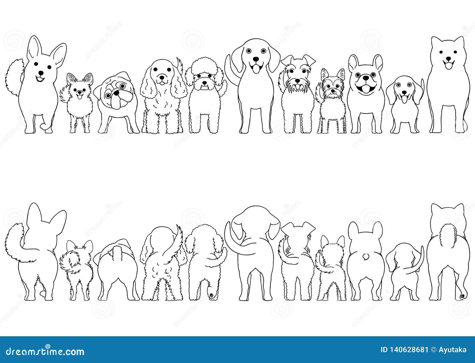 小狗线艺术边界集合
