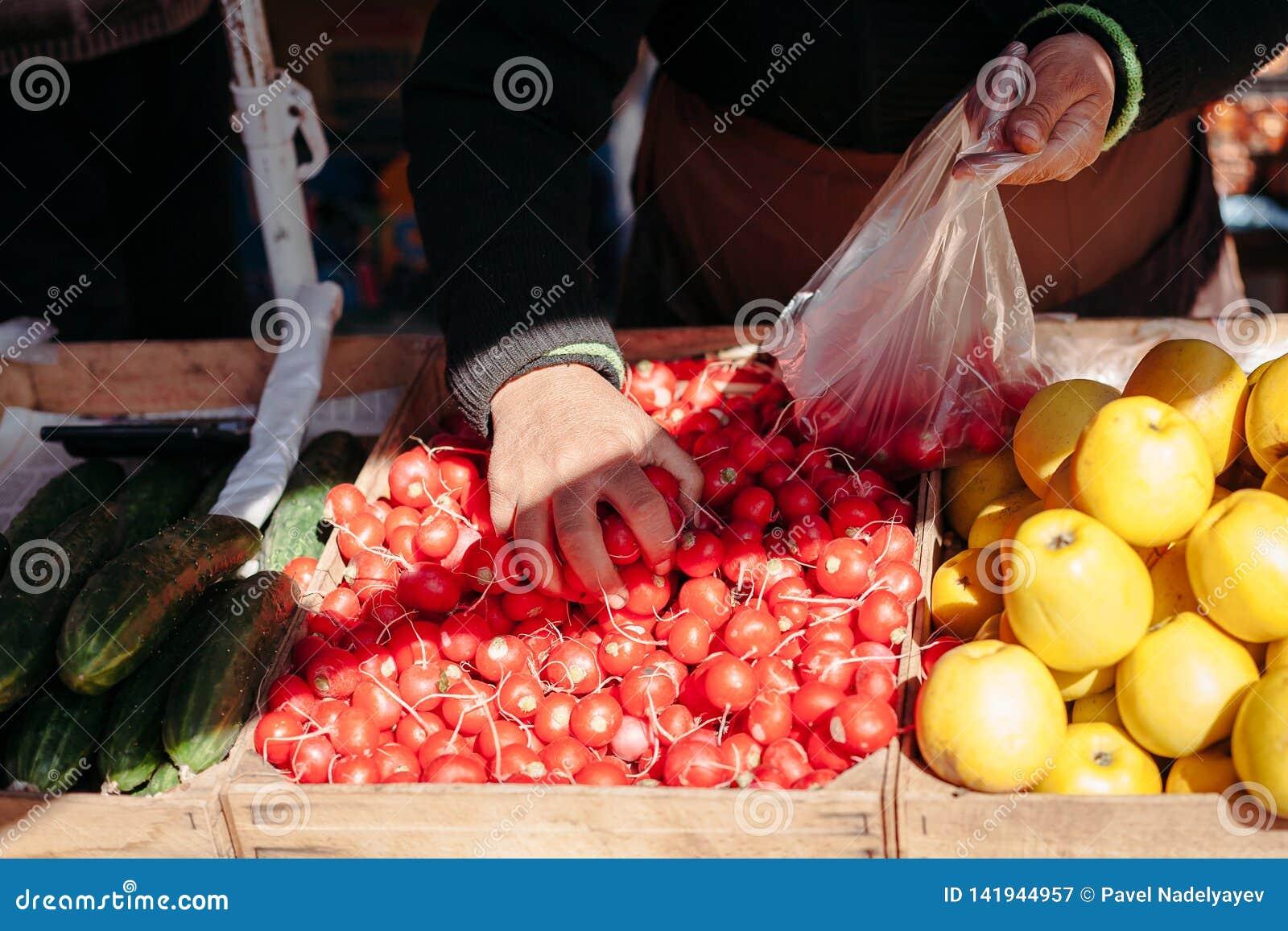 市场获取的萝卜的卖主买家的
