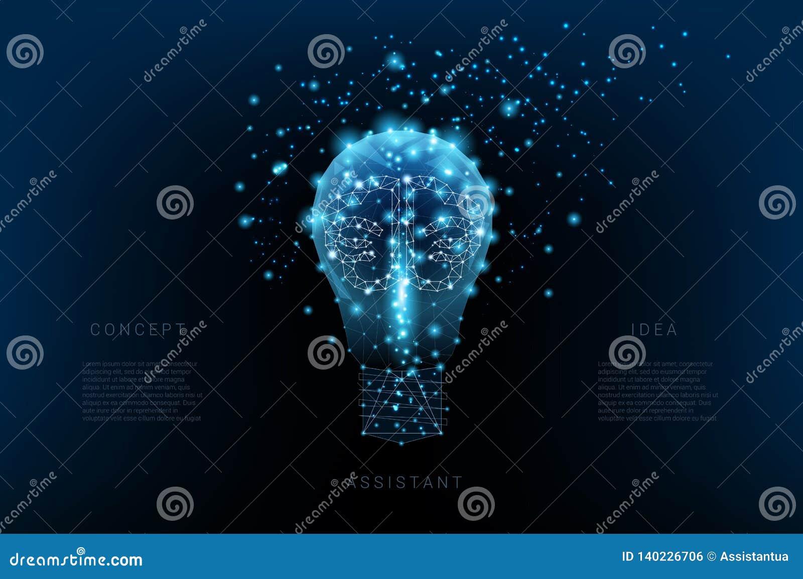 Żarówka trójboki, świecący mózg i punkty Tło piękny zmrok - błękitny nocne niebo pojęcia podłączeniowi pomysłu internety dzierżaw