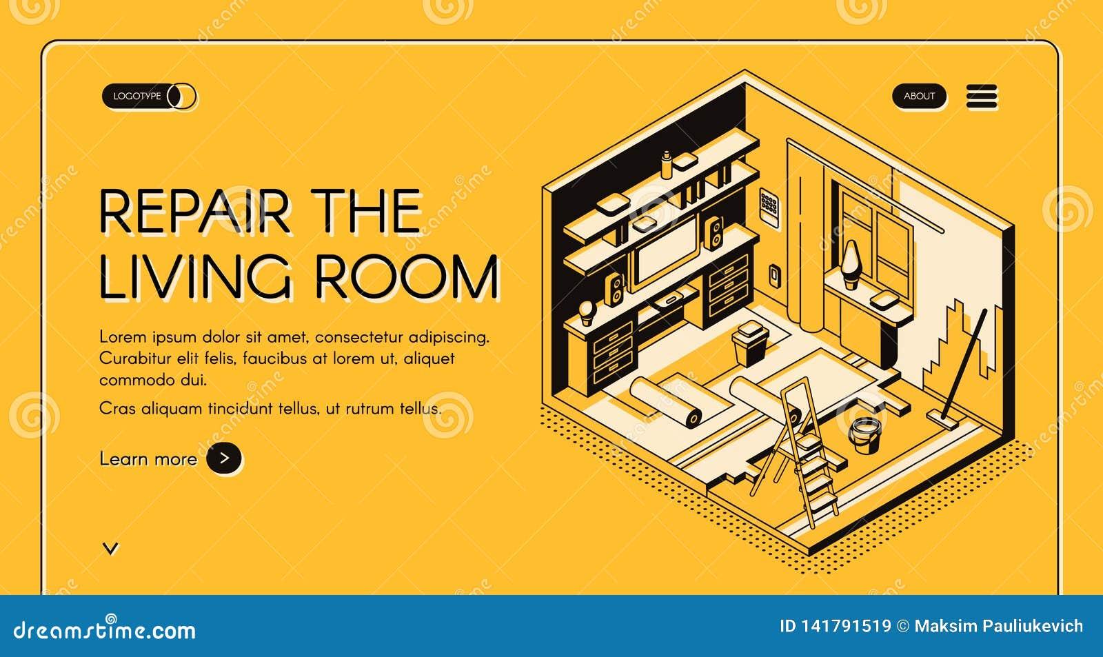 Żywa pokój naprawa pracuje isometric wektorową stronę internetową
