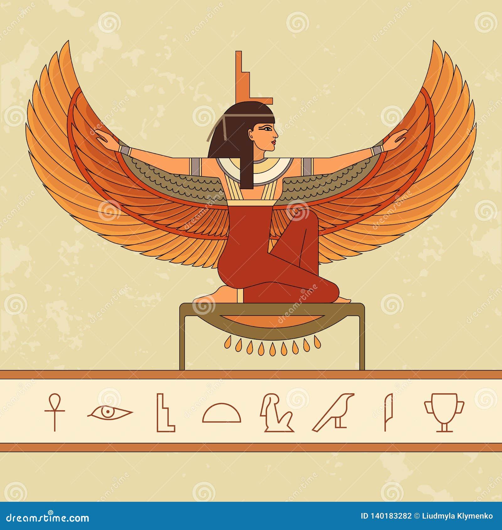 埃及女神Isis 美丽的埃及妇女的动画画象