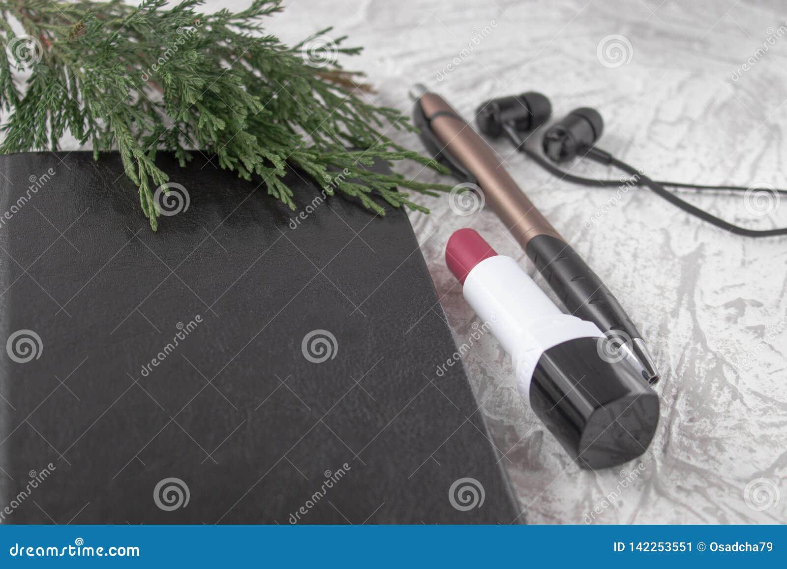 在一个黑笔记本的绿色枝杈在一副笔、唇膏和耳机旁边在白色背景