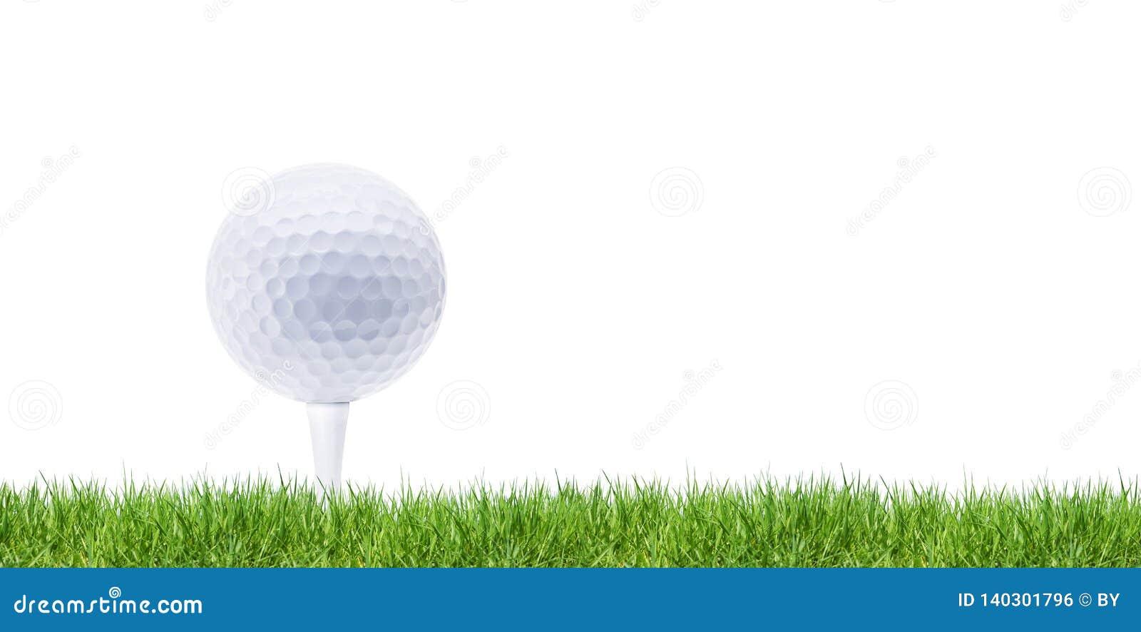 在发球区域的白色高尔夫球以绿色