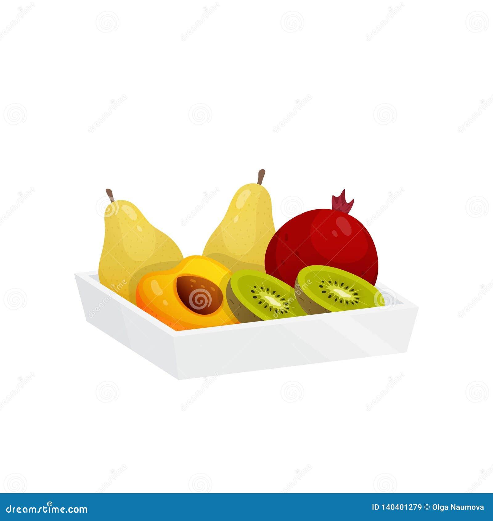 在塑胶容器的五颜六色的果子被隔绝在白色背景