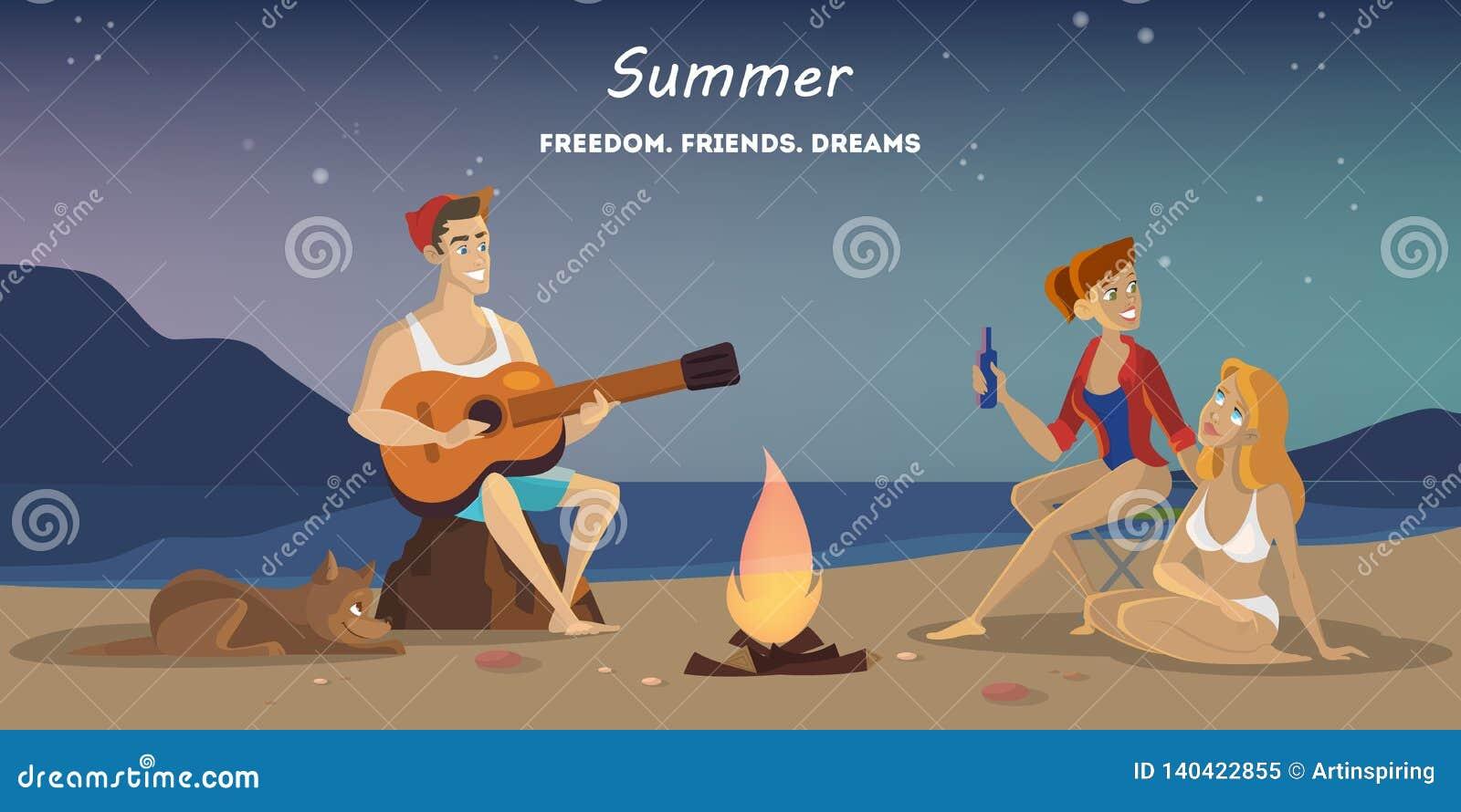 在海滩的夏令营 在营火的Touris