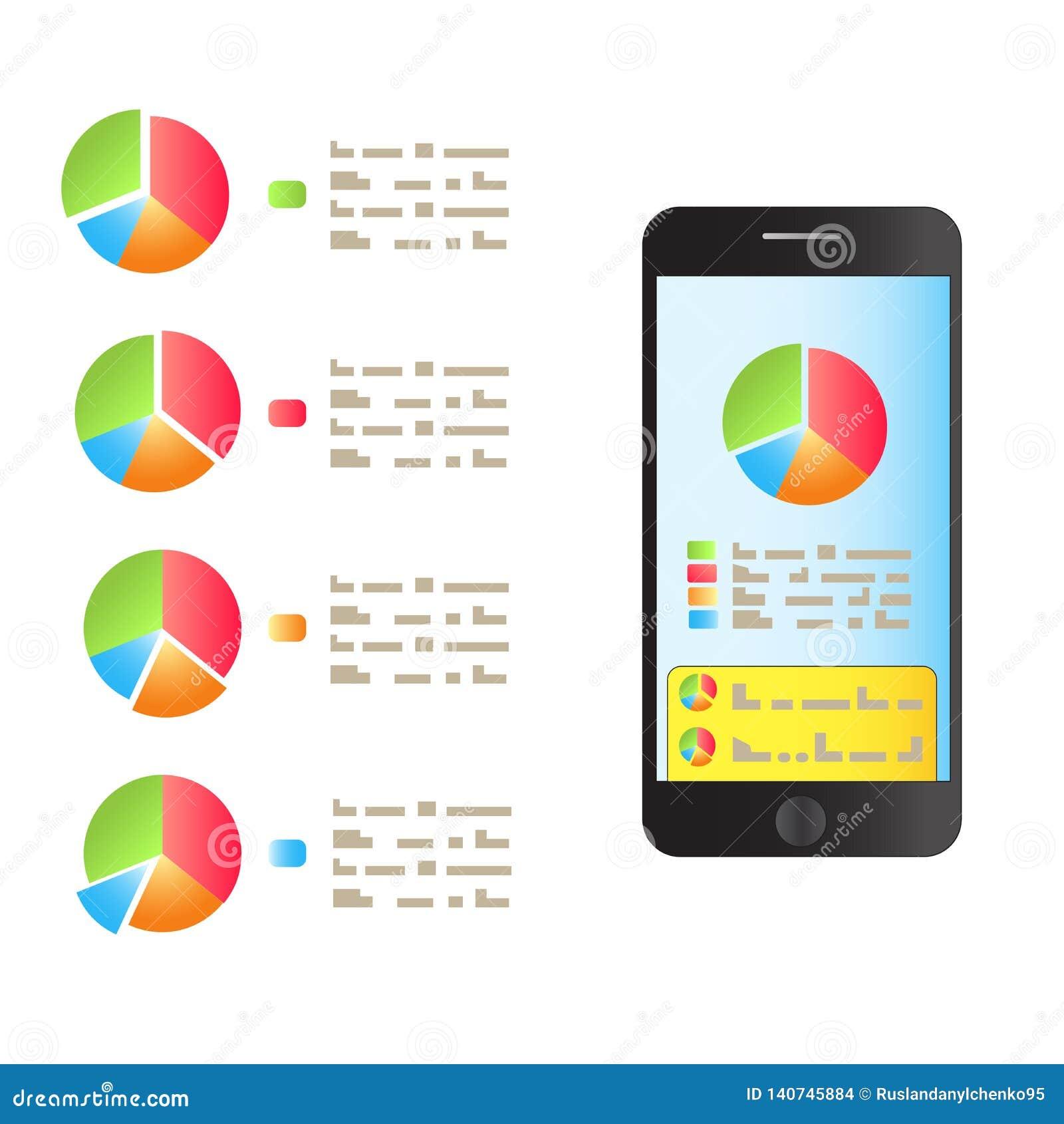 在智能手机上屏幕是表现图表  向量