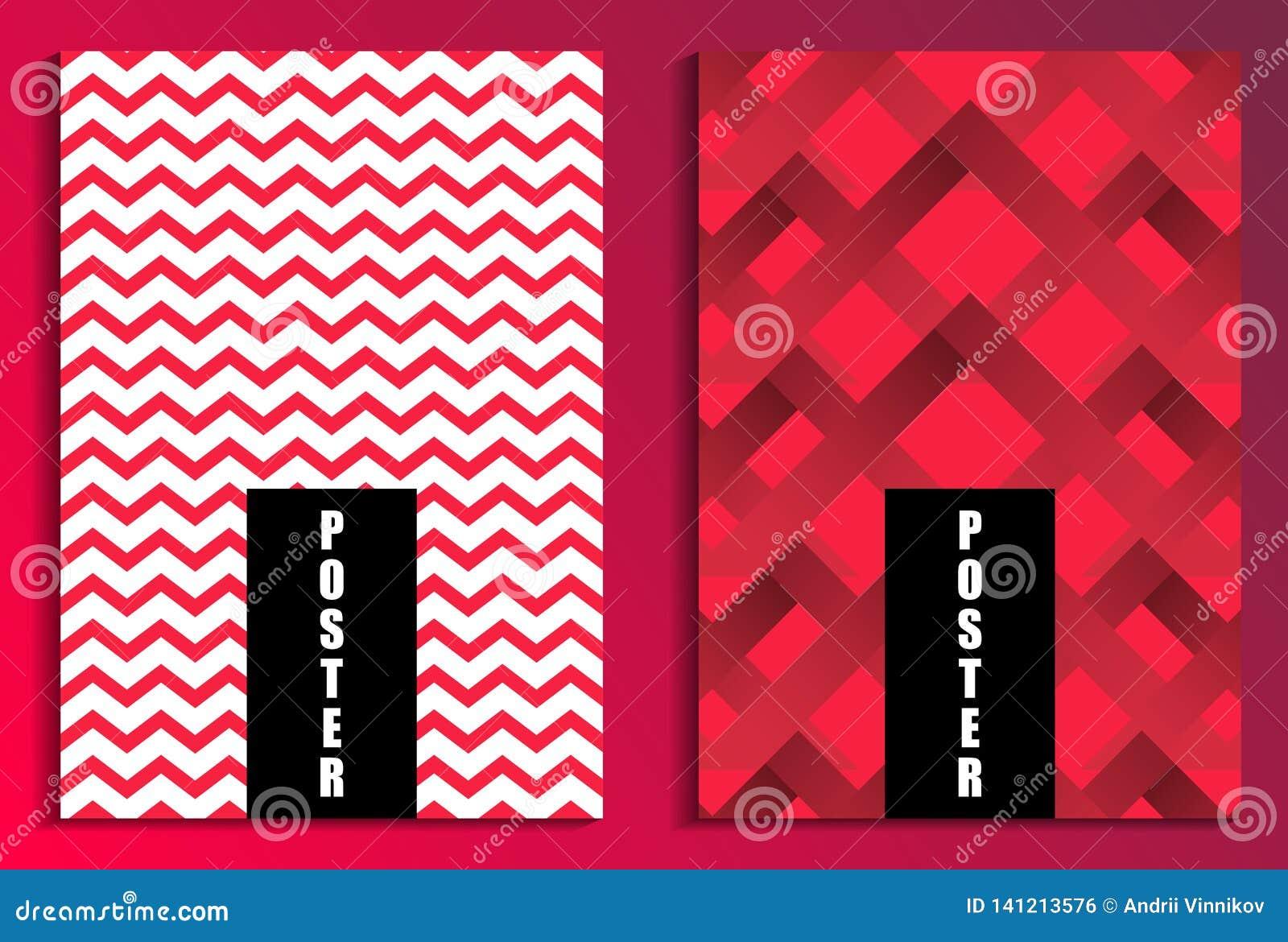 在红色背景海报集合的之字形 背景计算机方式模仿屏幕 小册子设计模板 向量