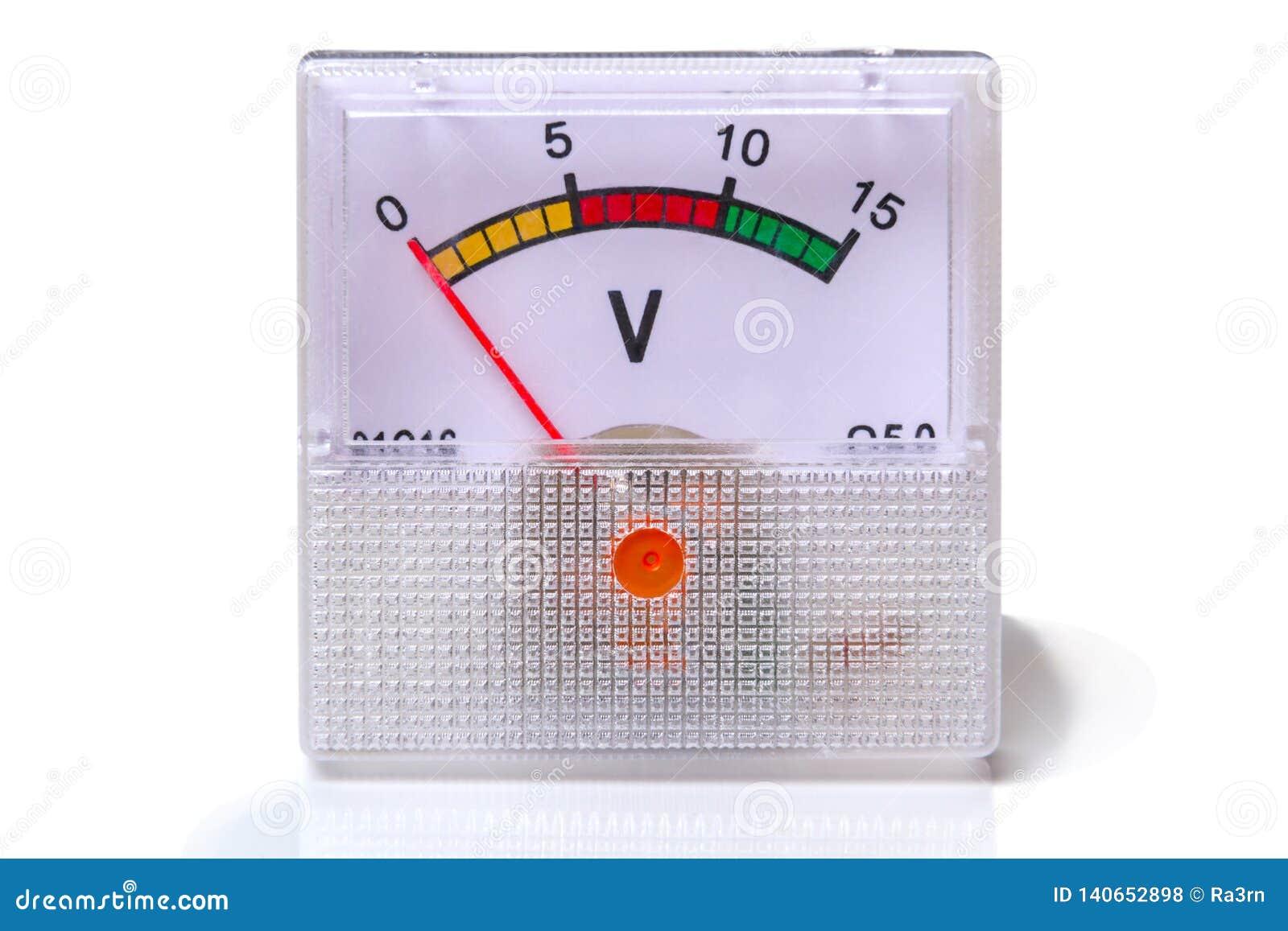 在白色的仪器电压表
