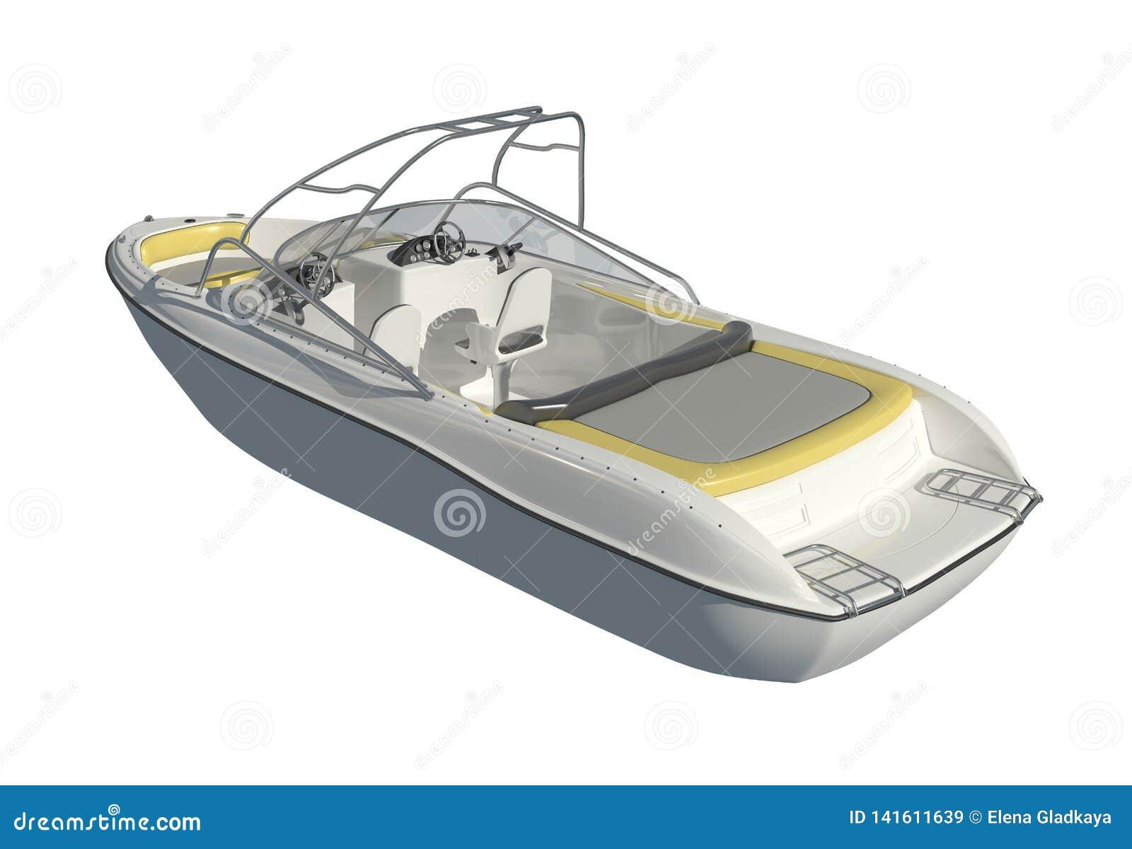 在白色背景3d例证隔绝的快速汽艇