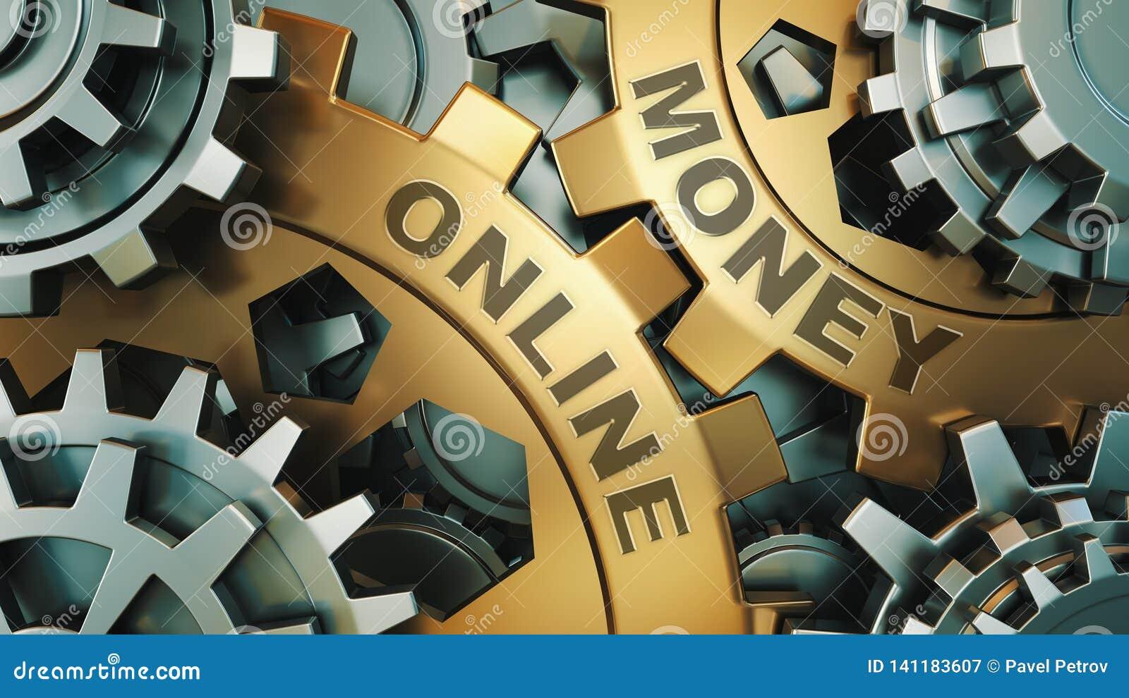 在金齿轮'在网上金钱的题字' 到达天空的企业概念金黄回归键所有权 齿轮机构 3d回报