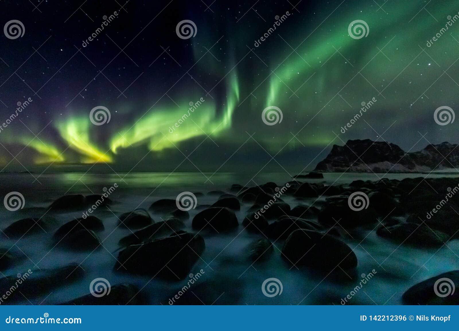在Utakleiv海滩的北极光在罗弗敦群岛海岛上