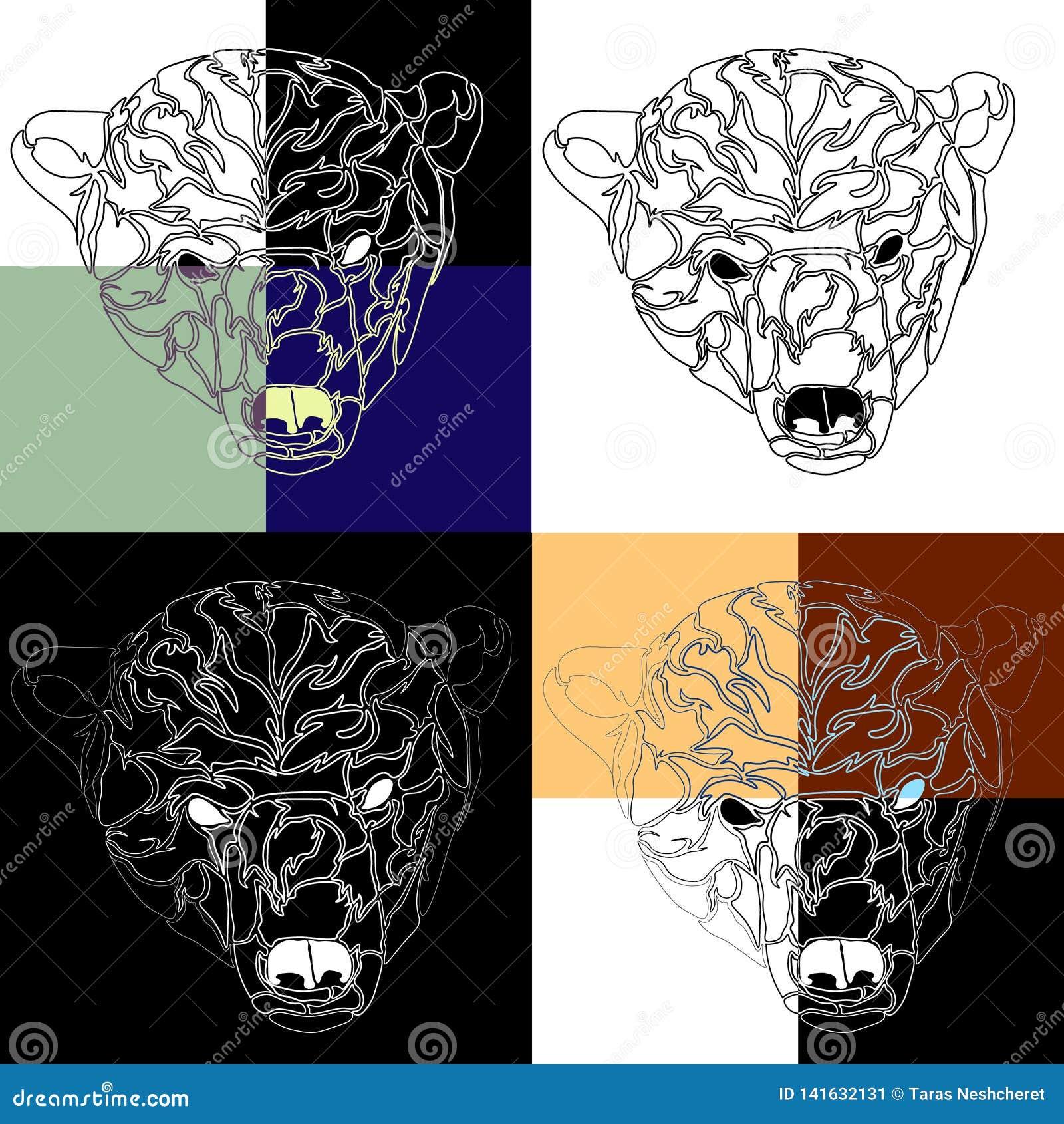 北极熊纹身花刺背景的头