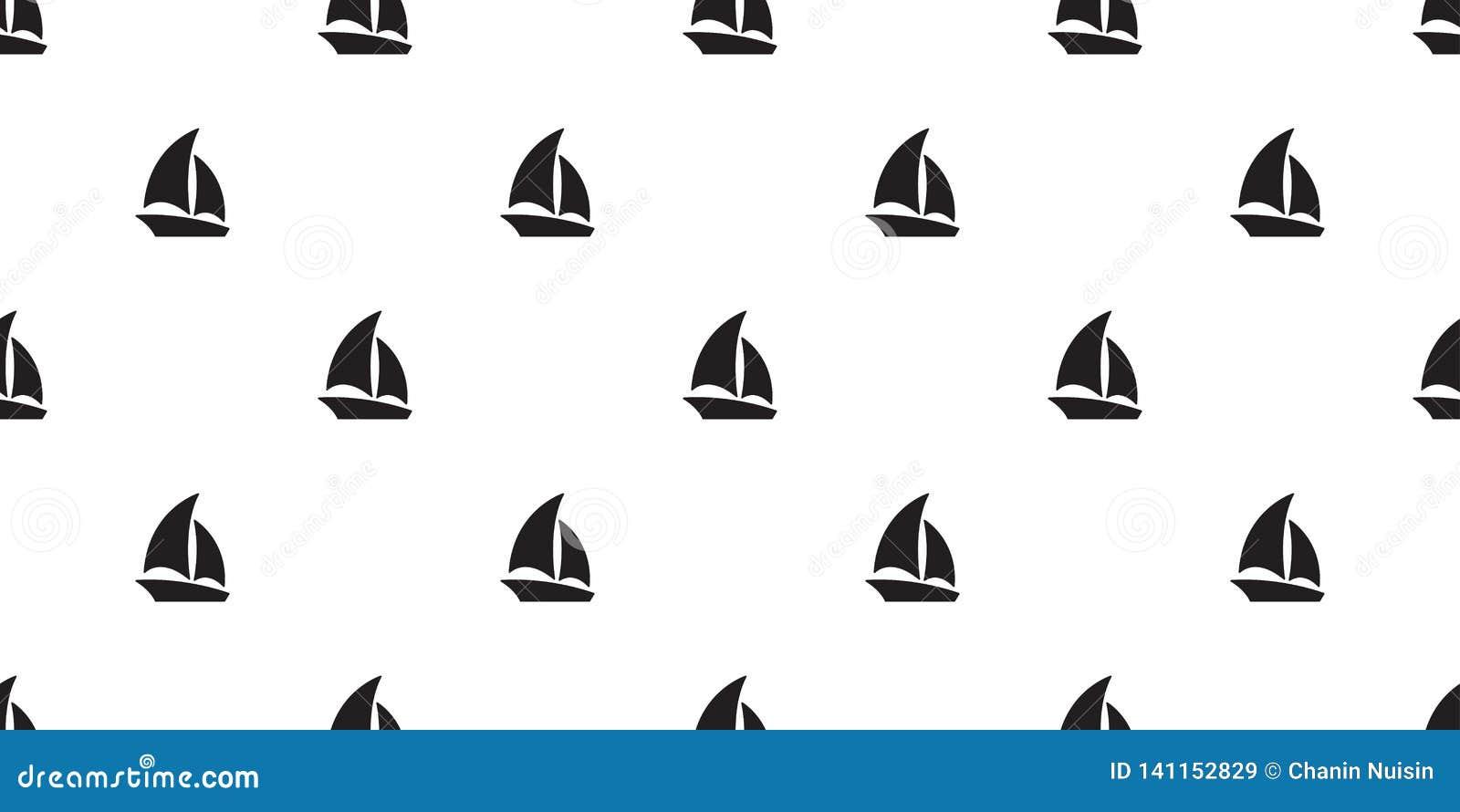 Łódkowatego bezszwowego deseniowego jacht żaglówki kotwicy steru szalika płytki tła powtórki morska Nautyczna tropikalna tapeta