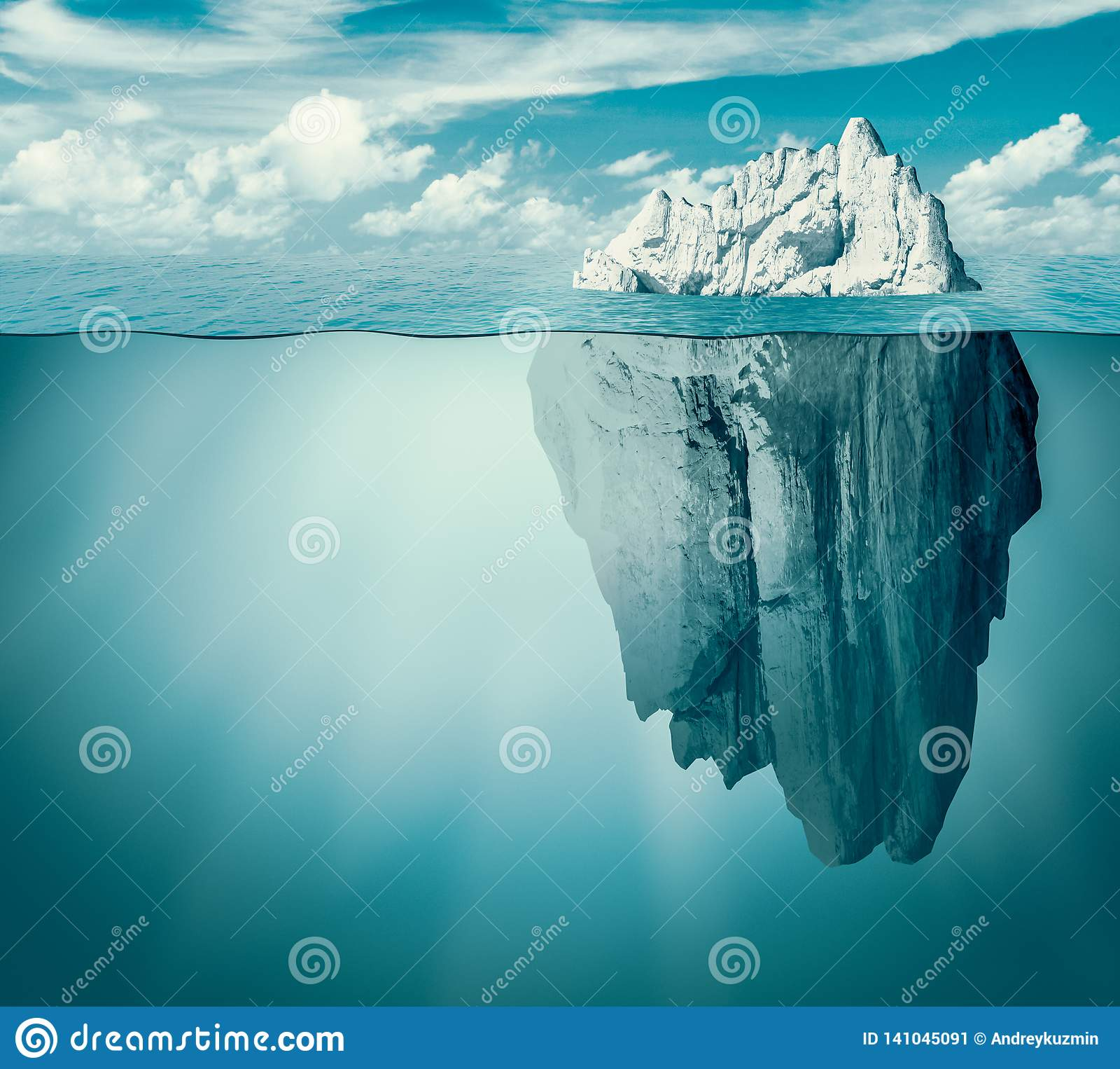 冰山在海洋或海 暗藏的威胁或危险概念 3d例证