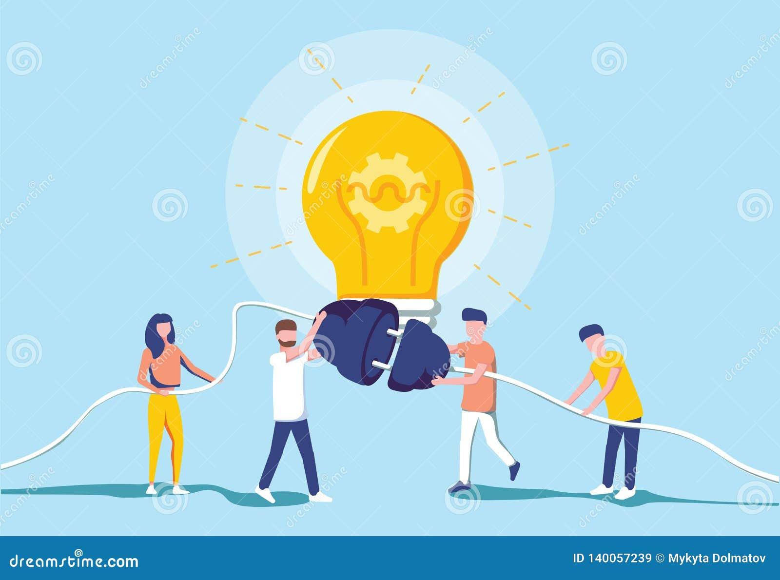商人和产生一个大电灯泡的电力 想法一代 突发的灵感和配合合作