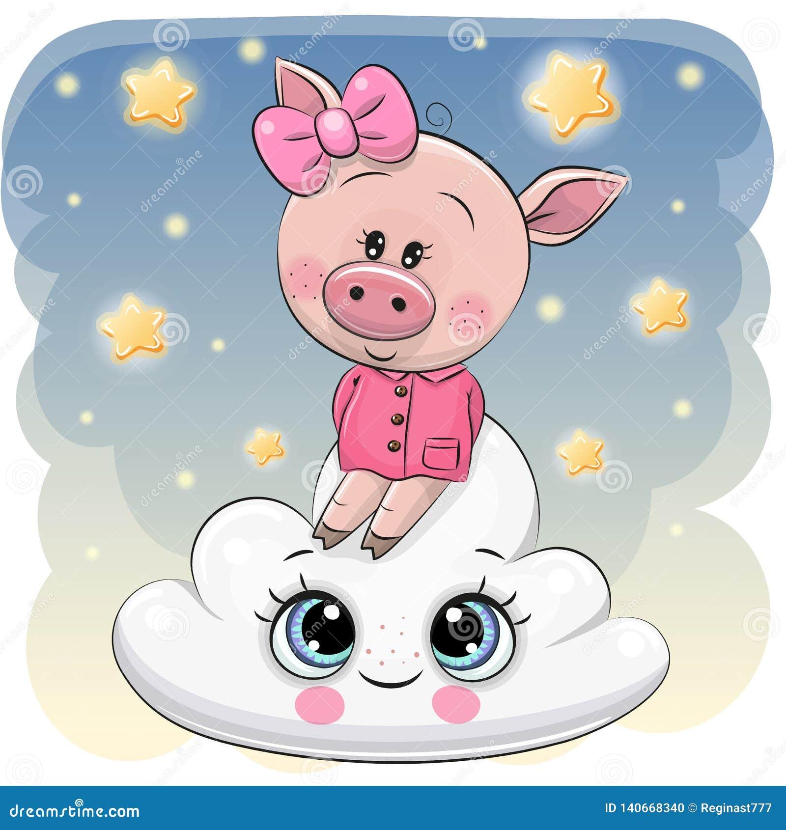 Śliczna świnia a na chmurze