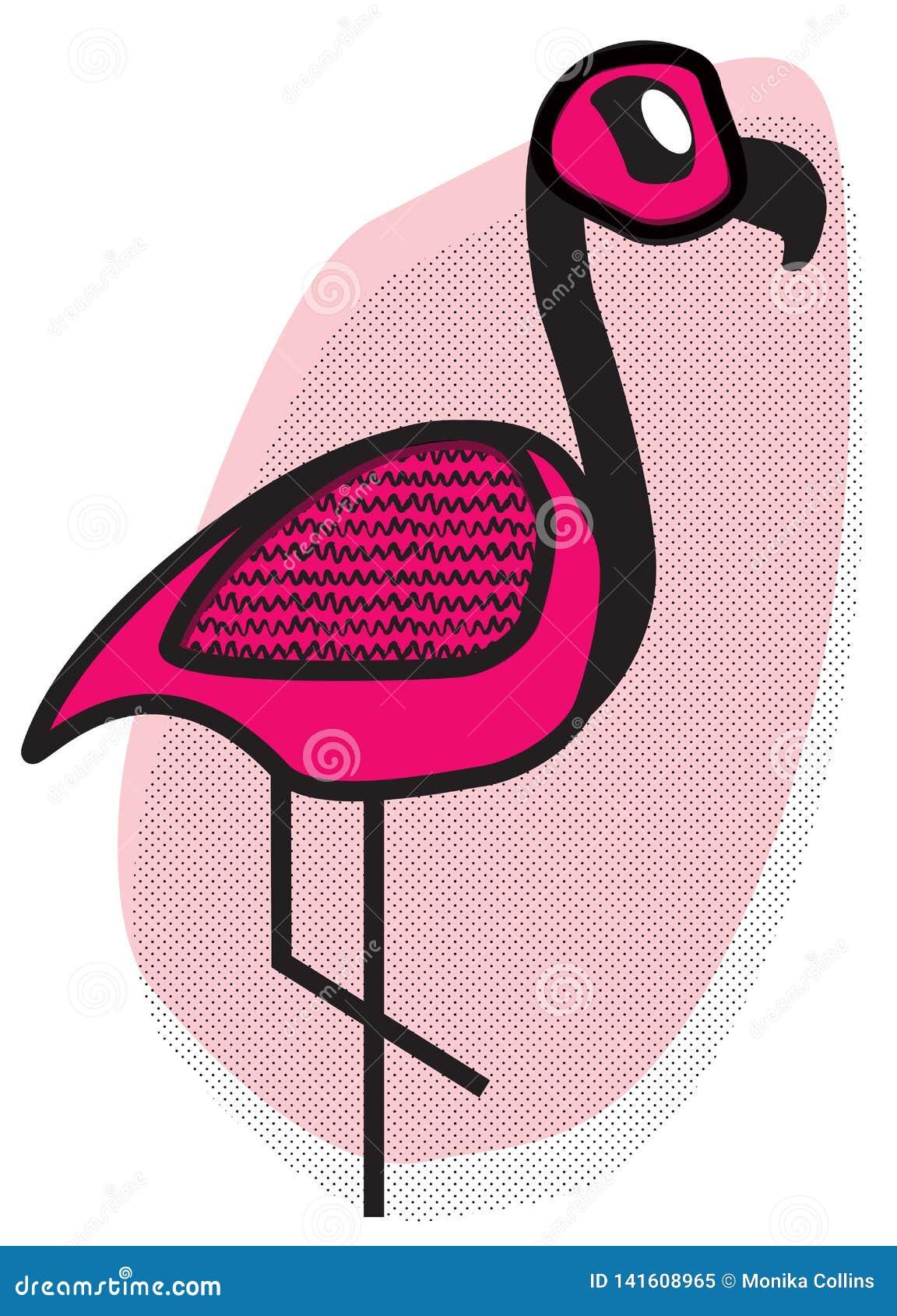 Śliczna różowa flaming kreskówka