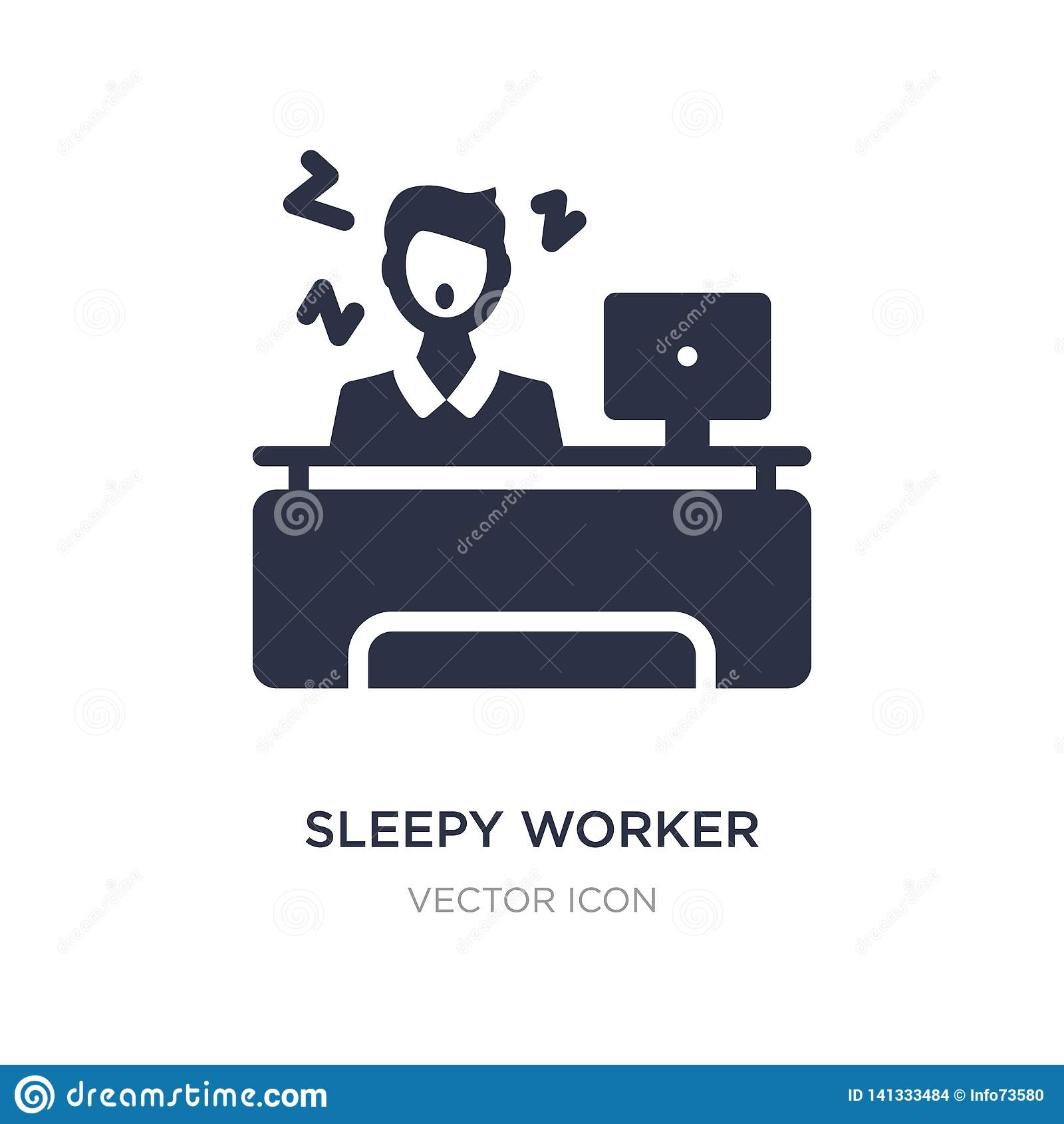 śpiący pracownik przy pracy ikoną na białym tle Prosta element ilustracja od Biznesowego pojęcia