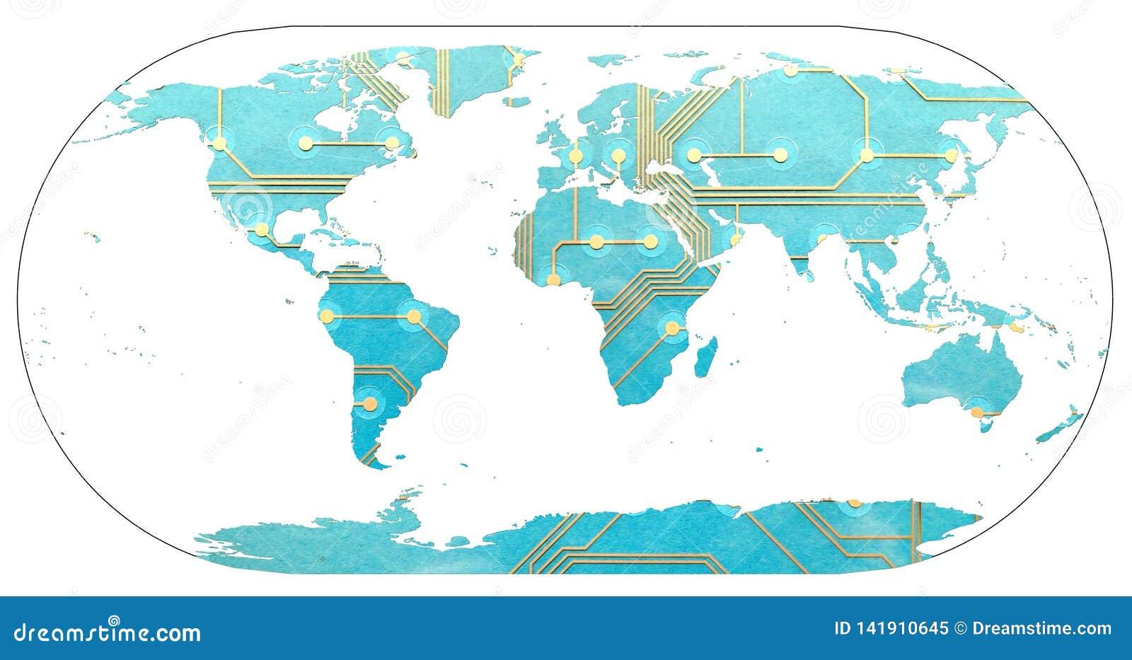 Światowa mapa z kontynentami wypełniał drukowaną obwód deską Pojęcie cyfrowy świat, związany przytłaczający i świat używa
