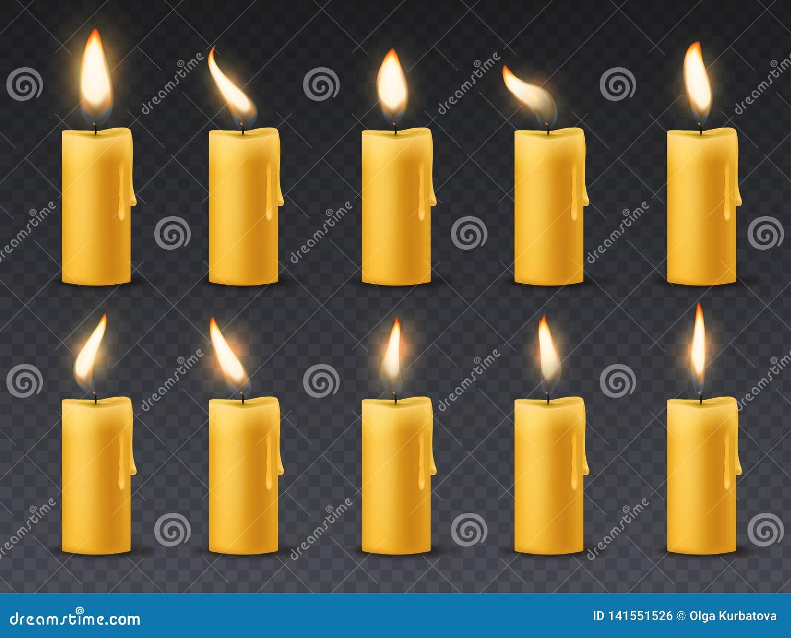 Świeczka płomienia animacja Animowanego blasku świecy romantycznego wakacyjnego wosku płonące świeczki zamknięte w górę ciepłego