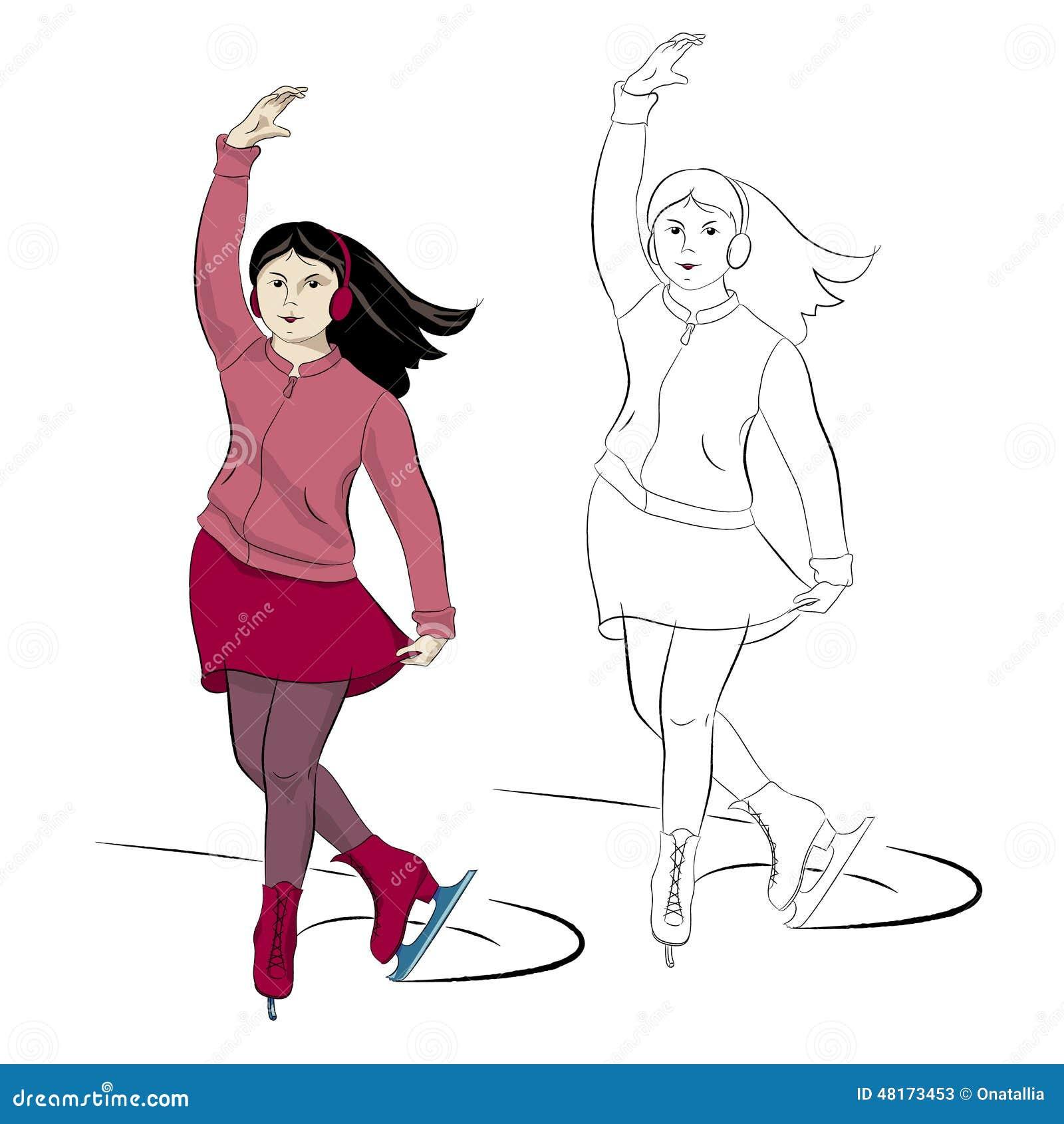 Åka skridsko unga flickan i rosa och rött