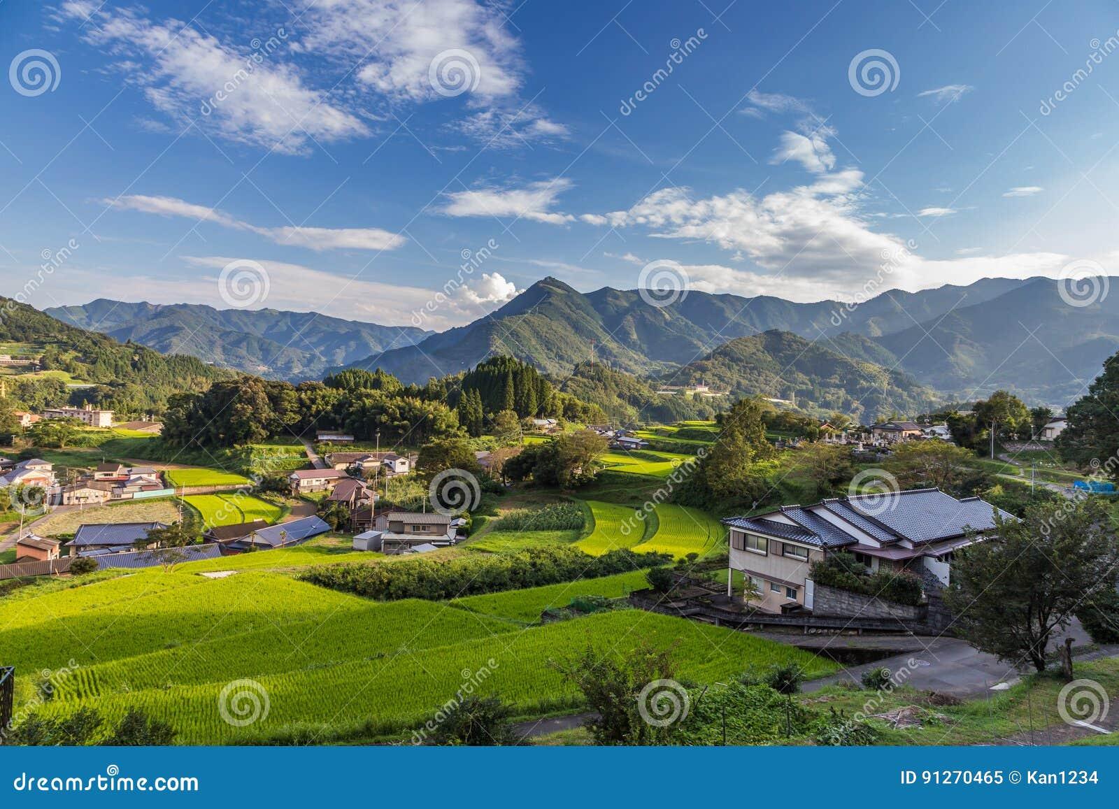 Åkerbruk by i Takachiho, Miyazaki, Kyushu