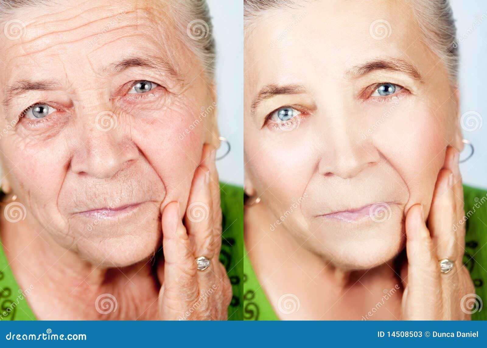 åldras skönhetbegrepp inga skincareskrynklor