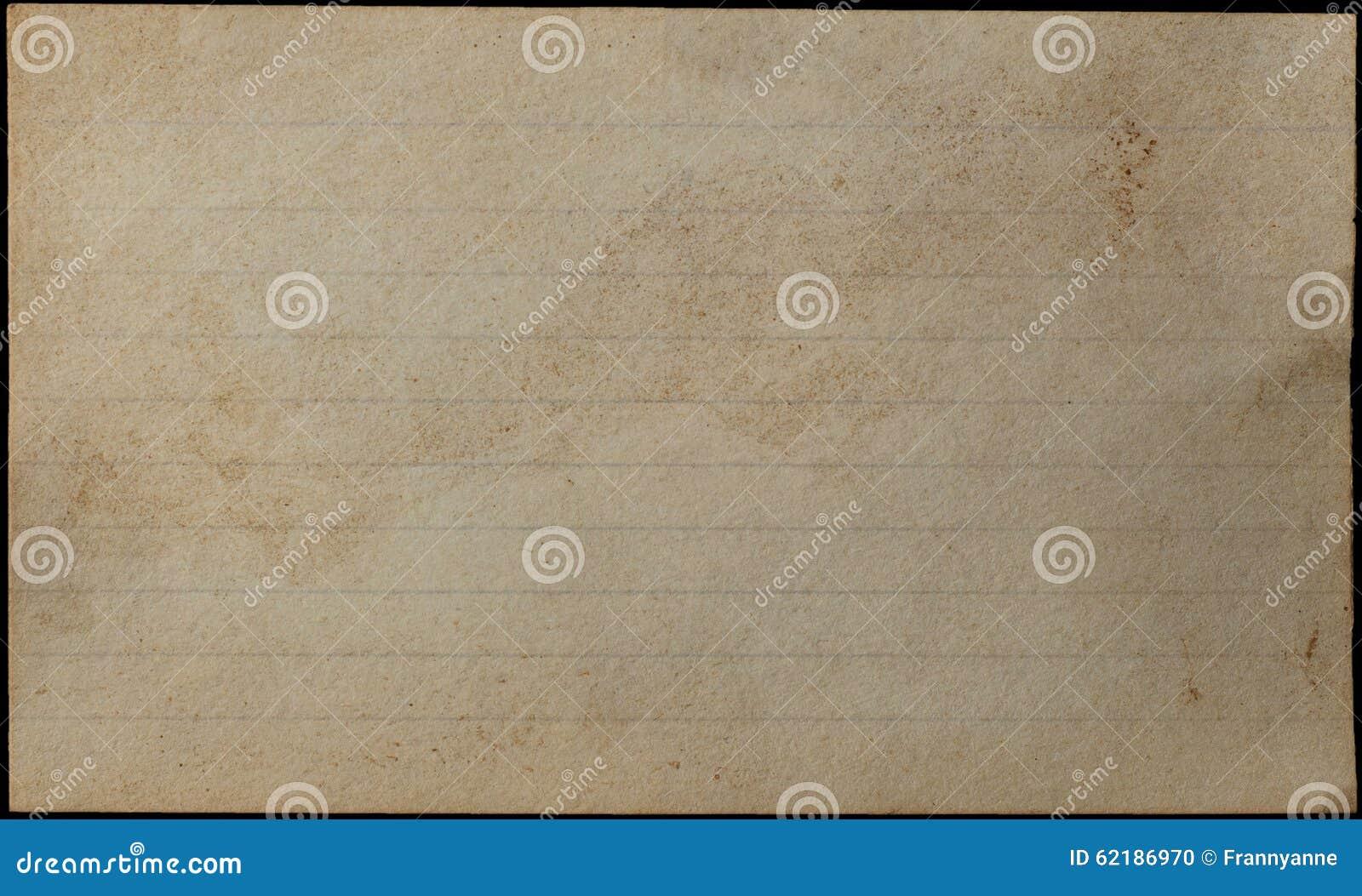 Åldrats och gulnat indexkort