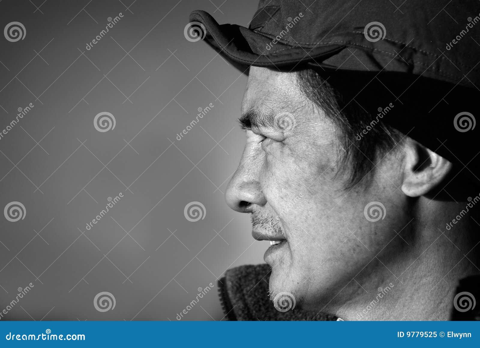 åldrig kinesisk medelutomhus- person