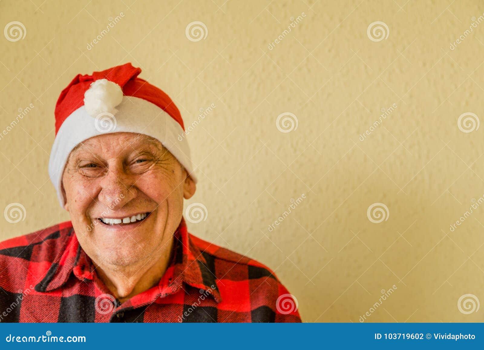 Åldring med den Santa Claus hatten
