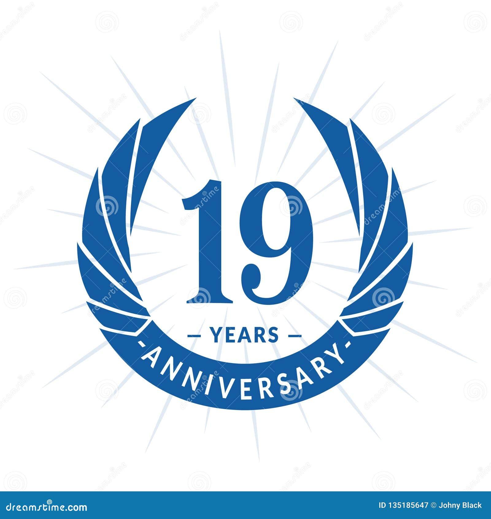 19 år årsdagdesignmall Elegant årsdaglogodesign Nitton år logo