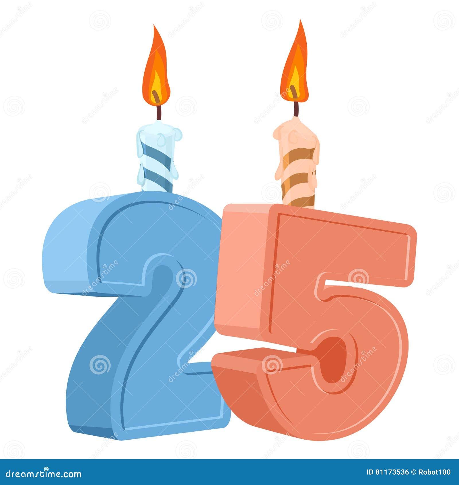 födelsedag 25 år 25 år Födelsedag Nummer Med Den Festliga Stearinljuset För  födelsedag 25 år