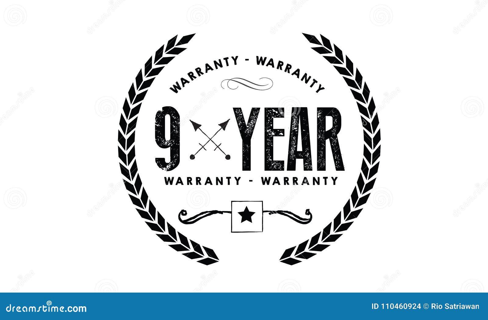 9 år gummi för garantisymbolstappning