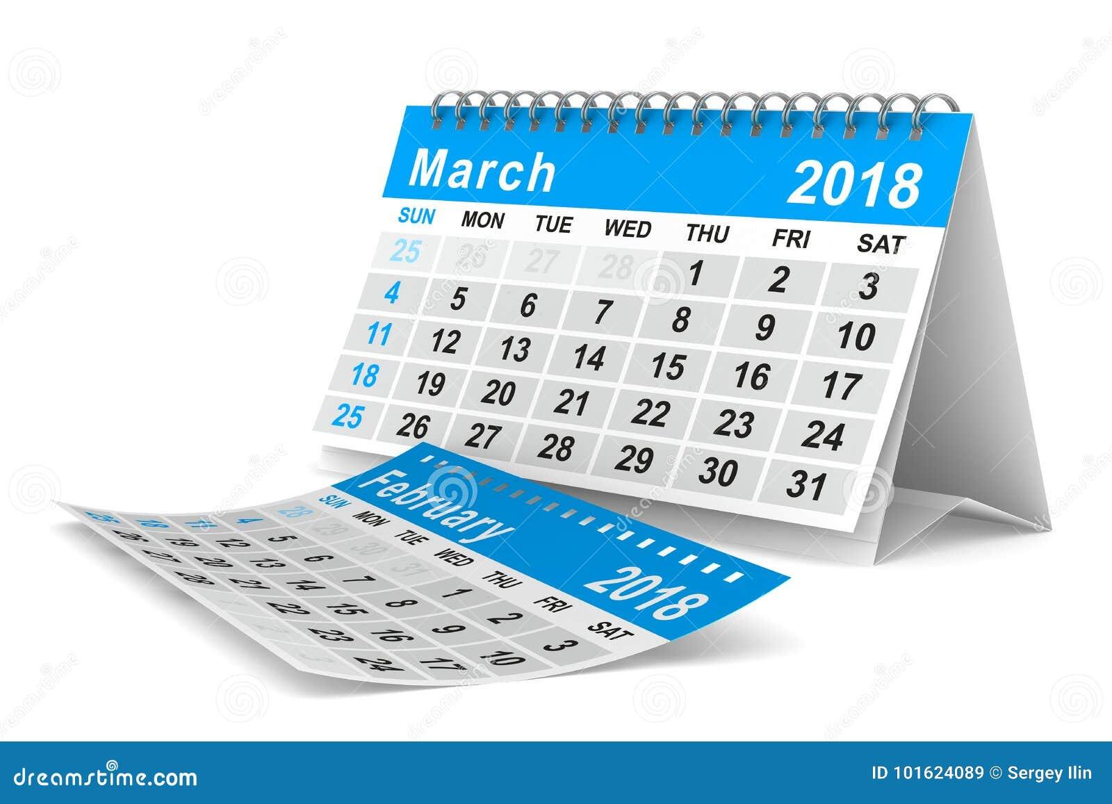 2018 år kalender marsch Isolerad illustration 3d