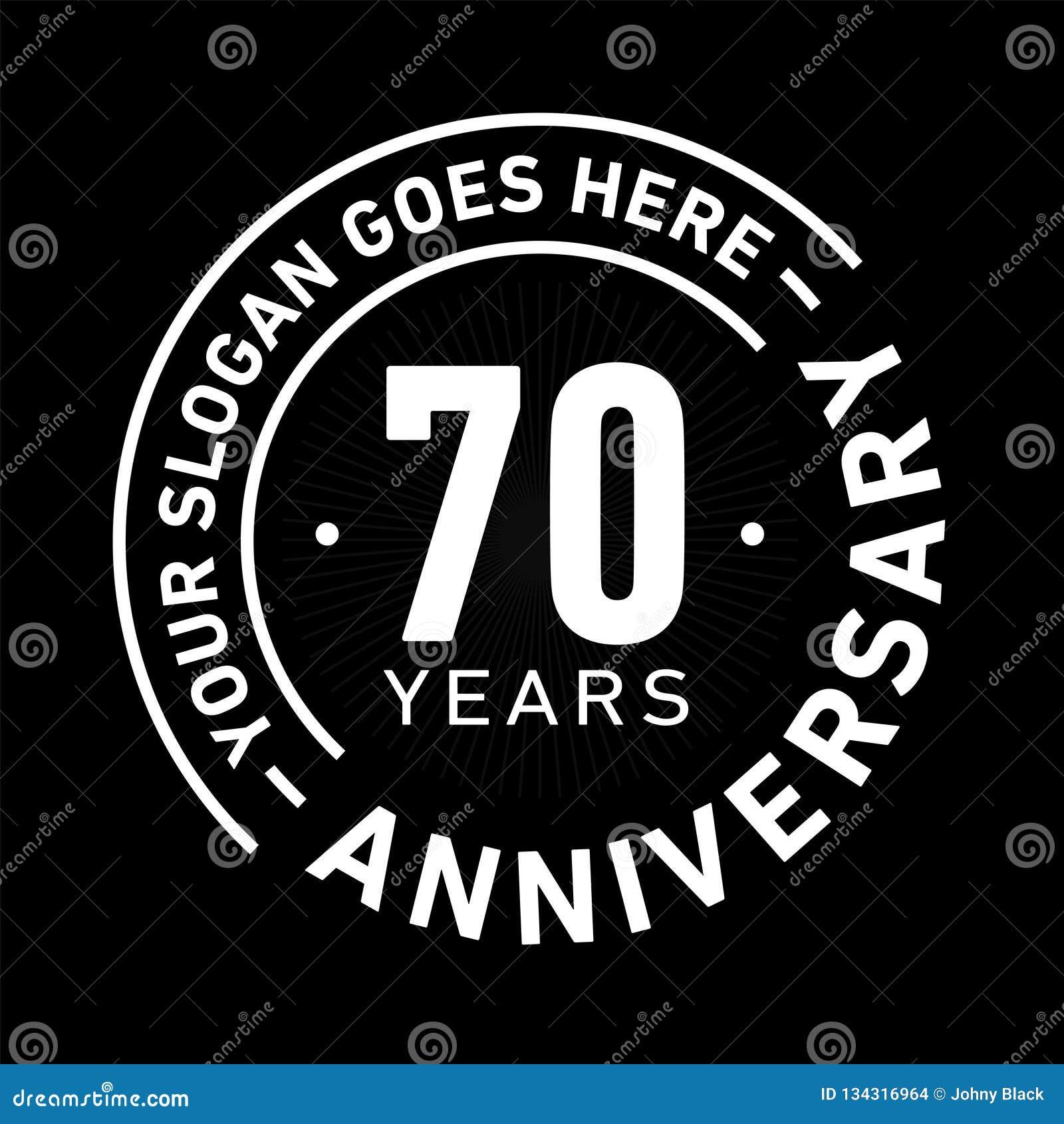 70 år mall för årsdagberömdesign Årsdagvektor och illustration Sjuttio år logo