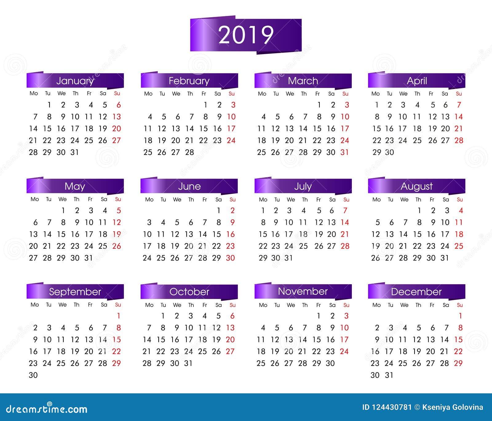 Årlig kalender för 2019 år med violeten, lila