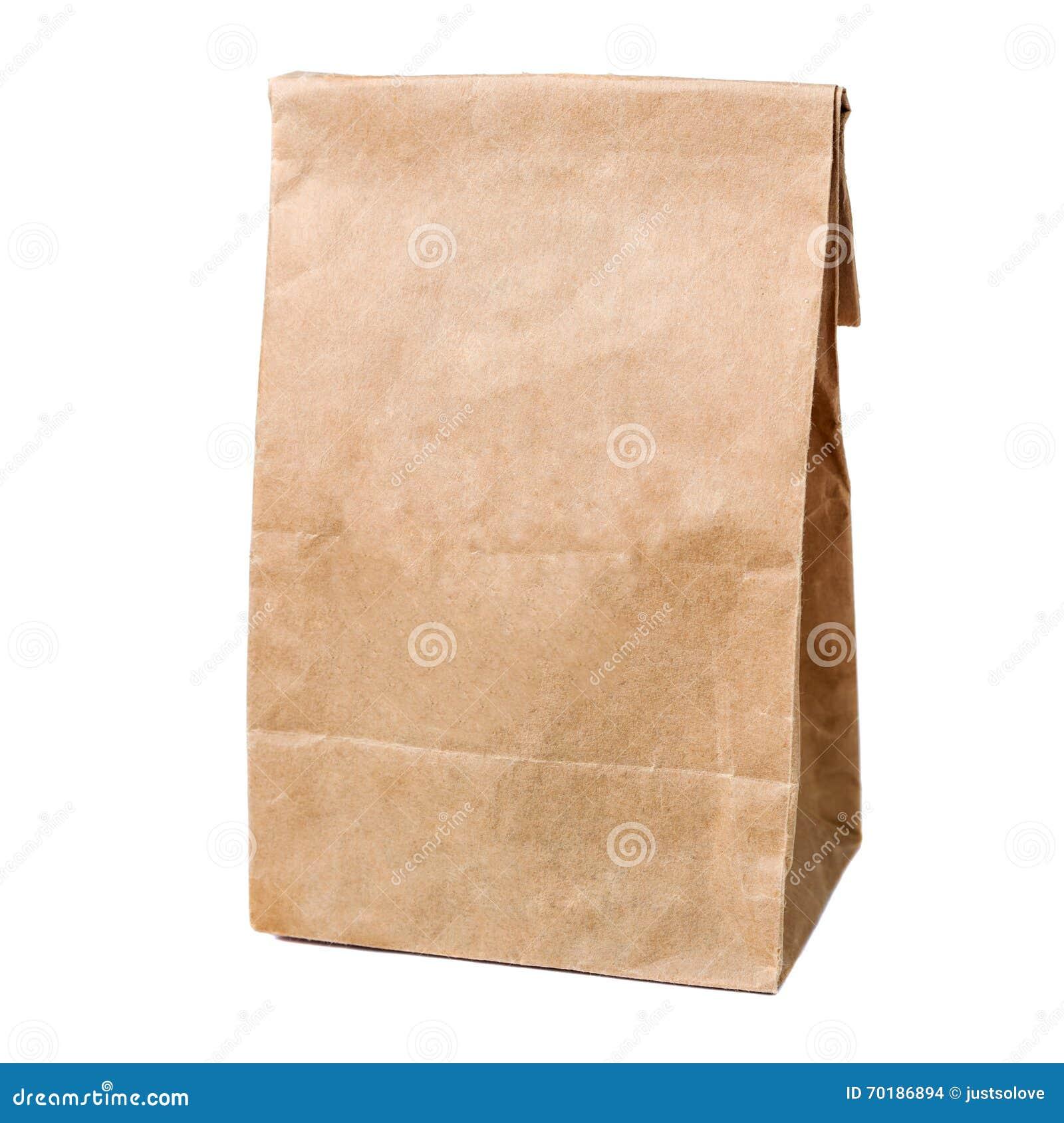 Återanvänd pappers- shoppingpåse som isoleras på vit