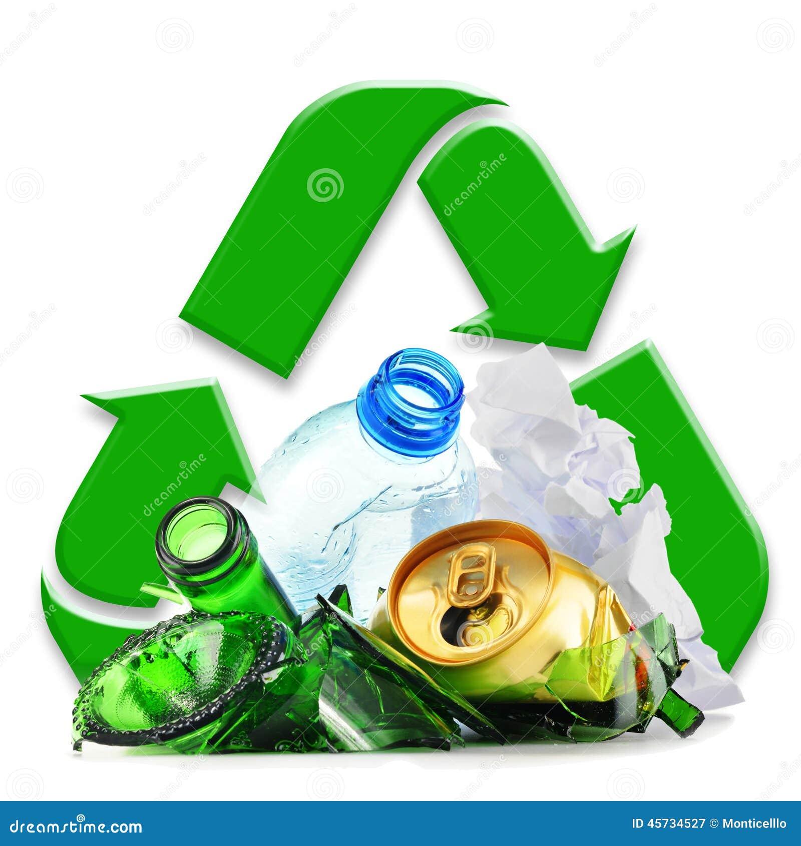 Återanvändbar avskräde som består av glass plast- metall och papper
