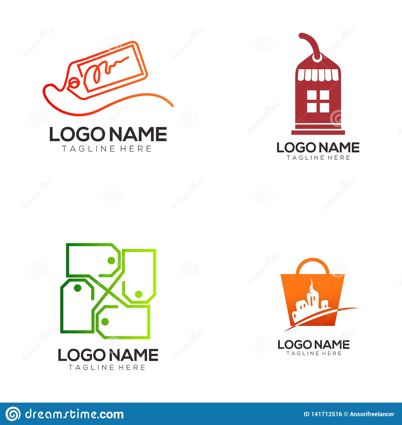 Återförsäljnings- och shoppa den logodesign och symbolen