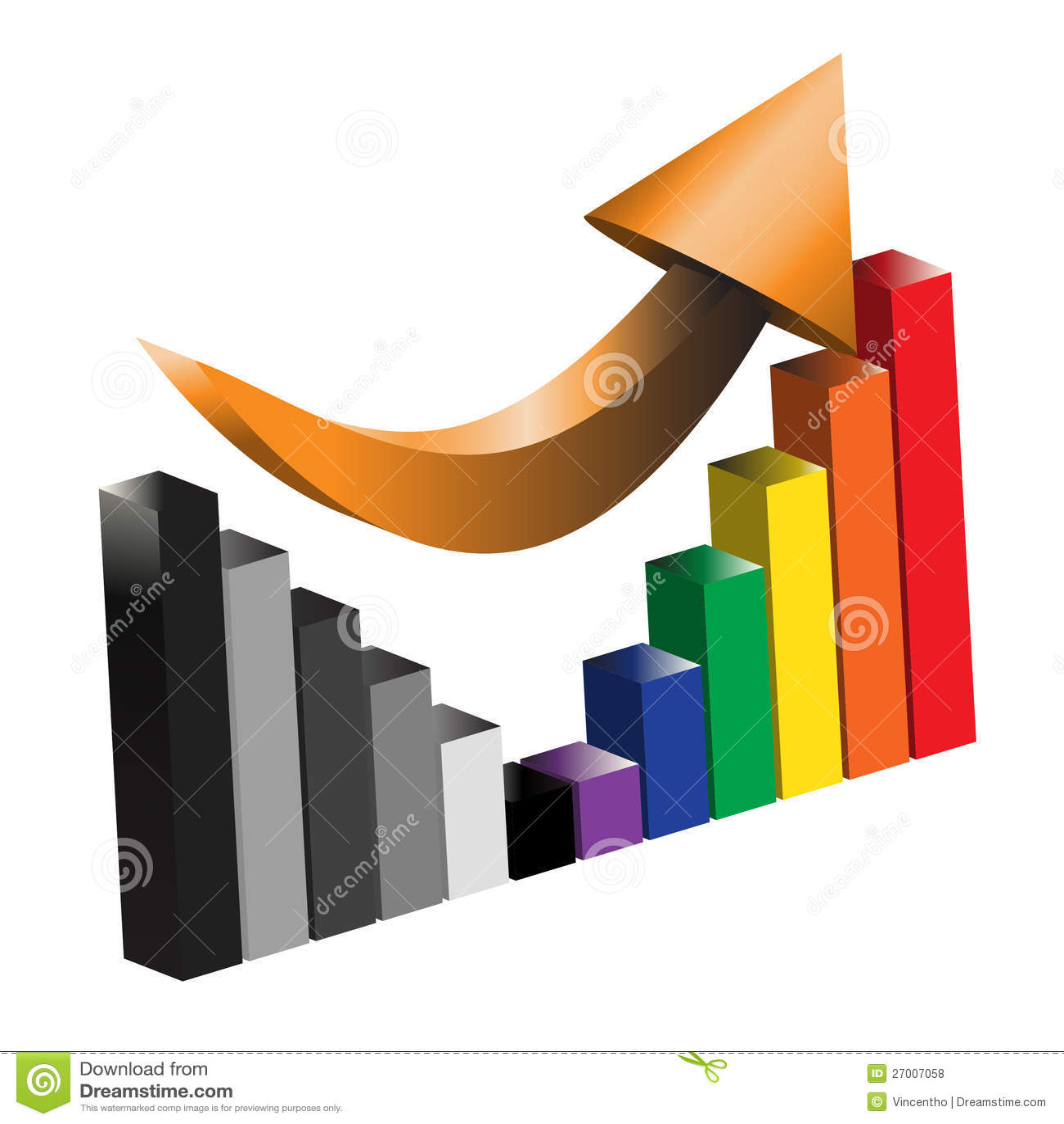 Återställande av en illustration för graf för affärsvinststång