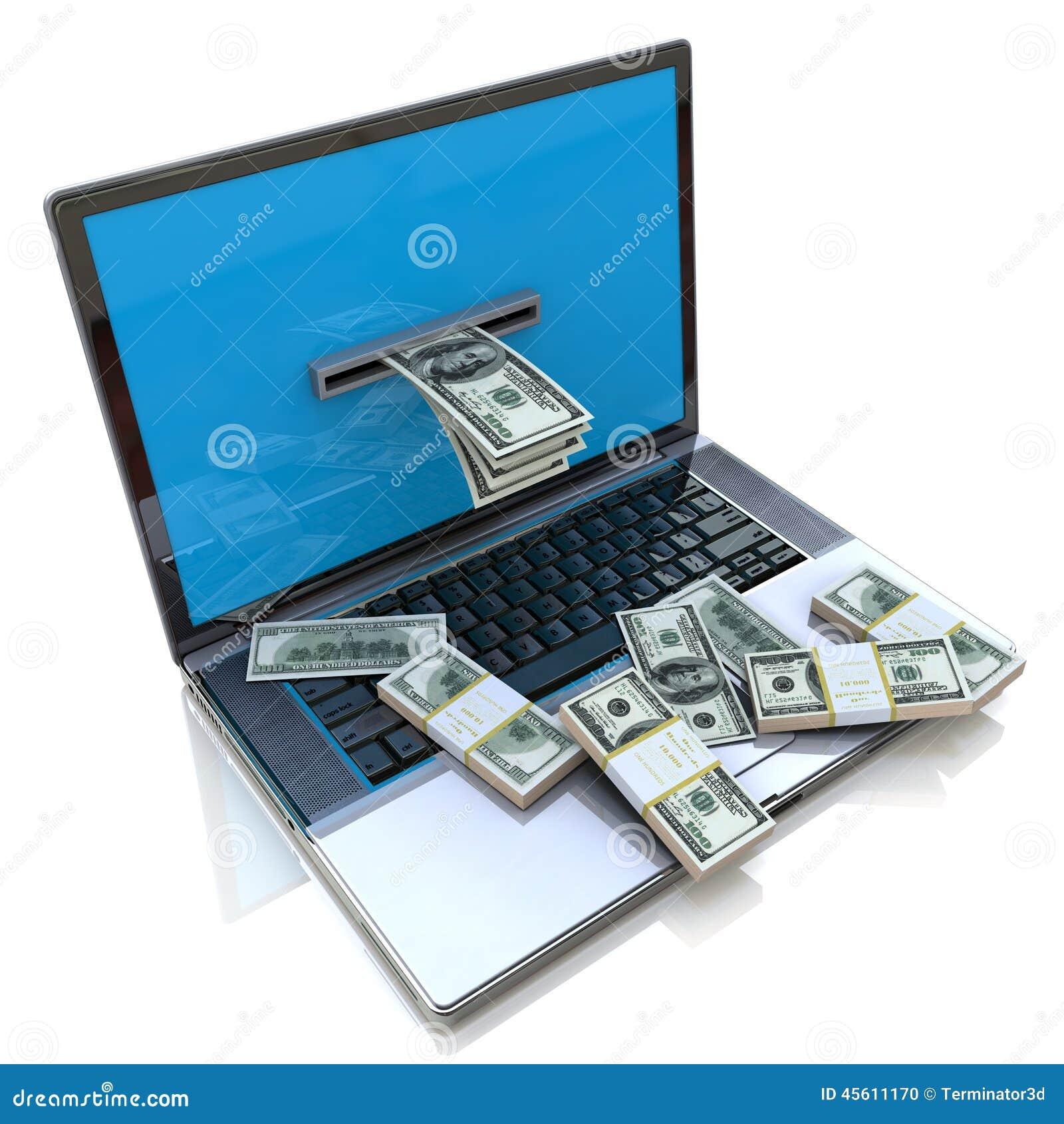 Återta för danandepengar direktanslutet - dollar från bärbara datorn