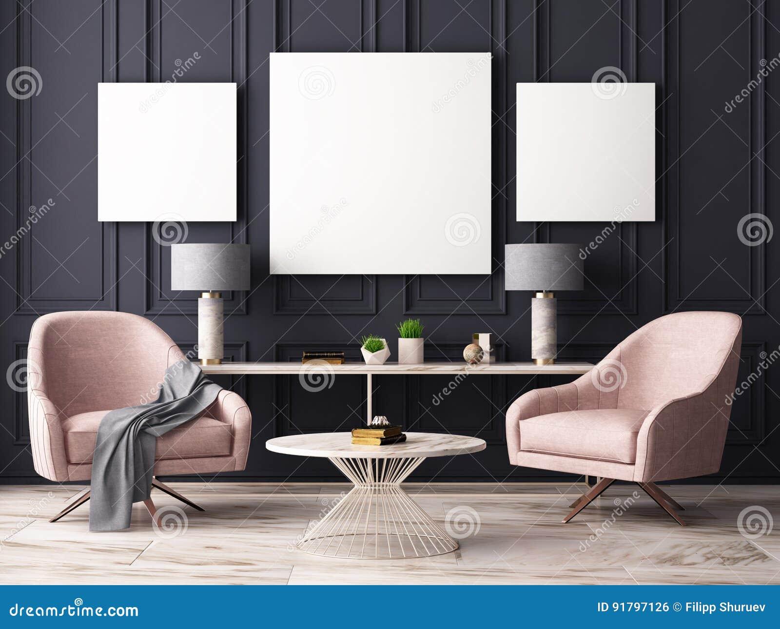 Åtlöje upp affischen i en pastellfärgad inre med fåtöljer och en tabell framförande 3d