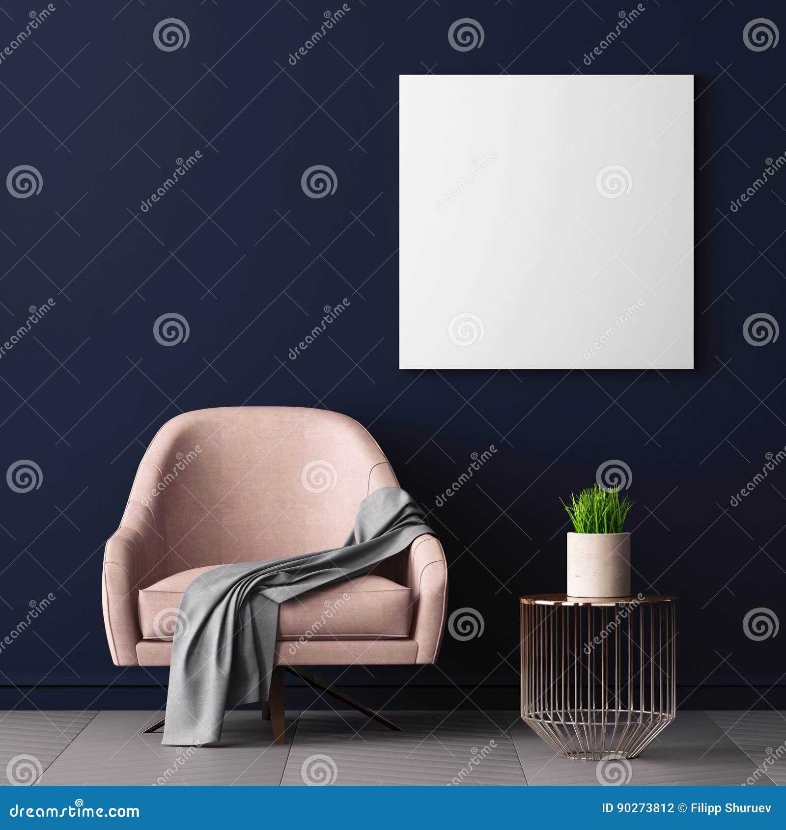 Åtlöje upp affischen i inre med en stol och en tabell, 3D framför, illustrationen 3d