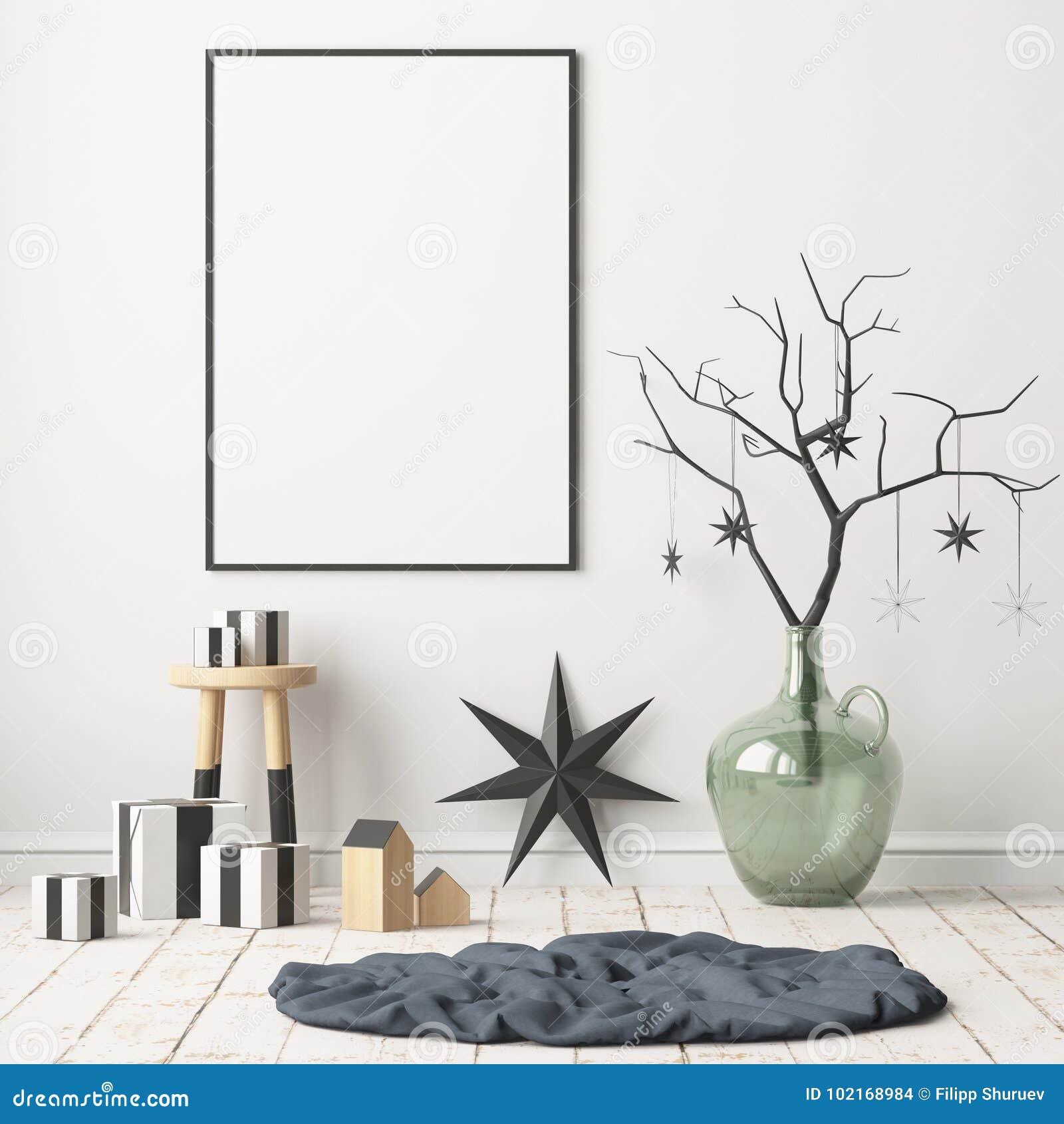 Åtlöje upp affischen i julen som är inre i skandinavisk stil framförande 3d